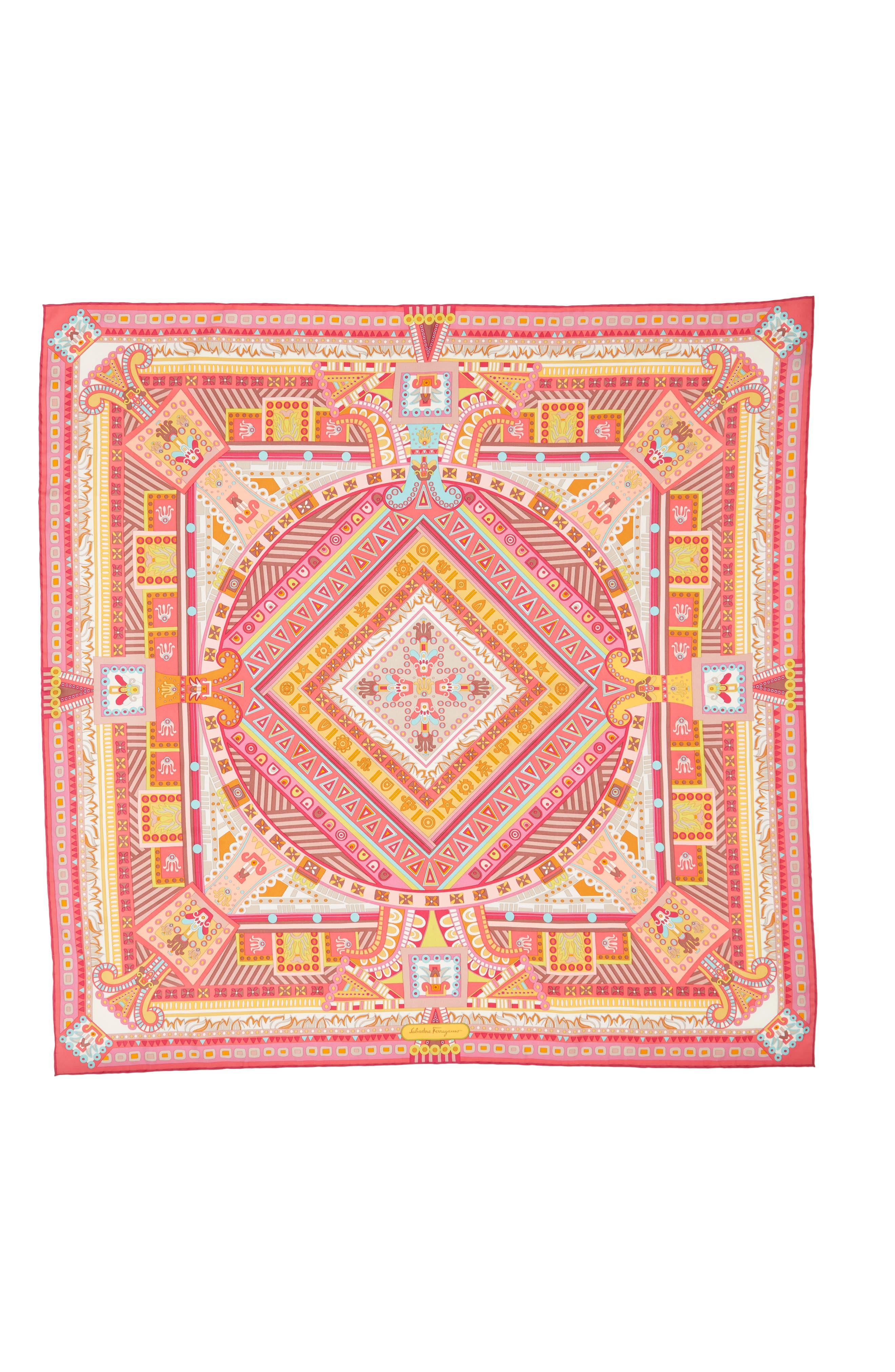 Graphic Geometric Silk Scarf,                         Main,                         color, Fuxia