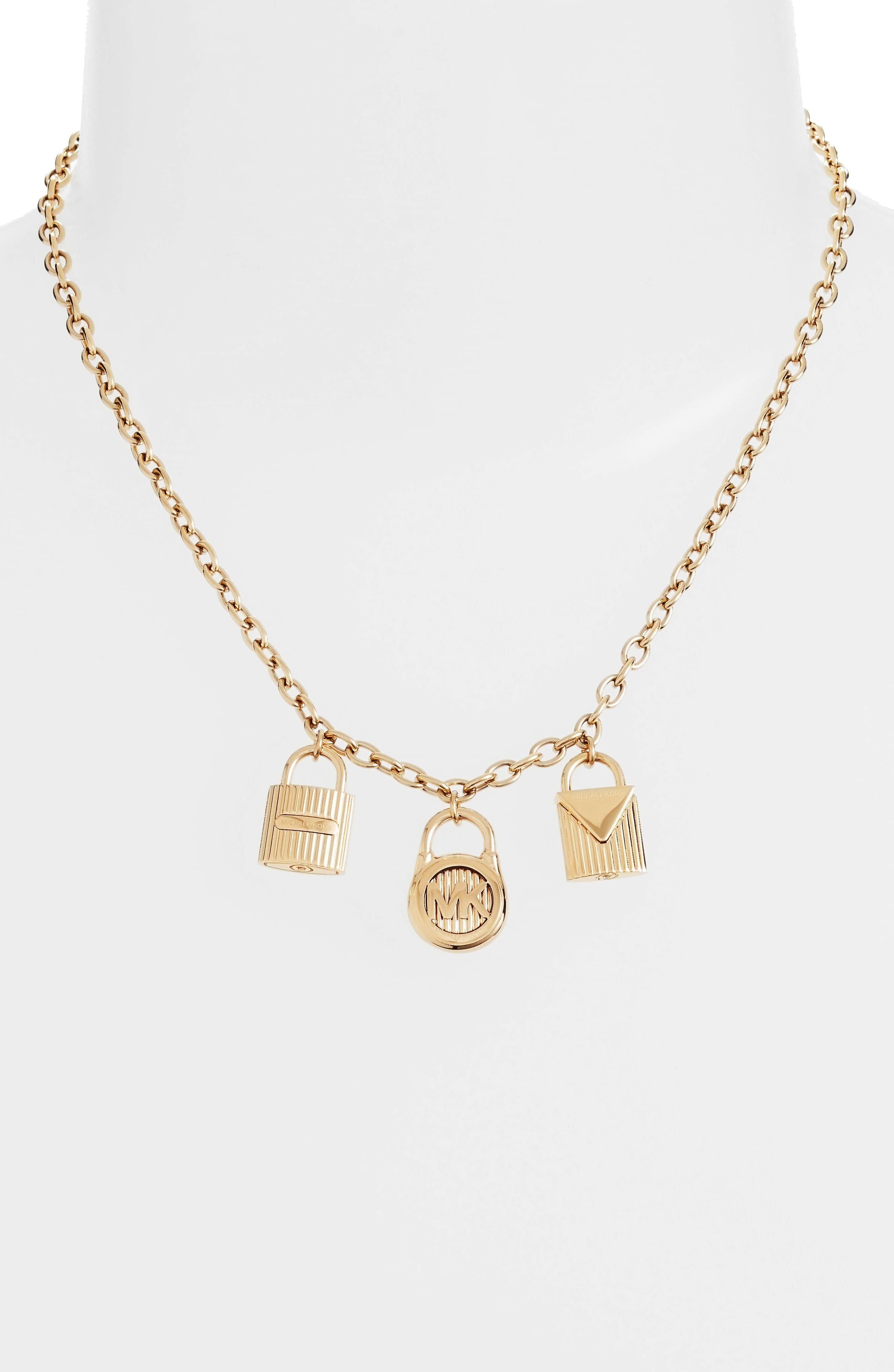 Padlock Charm Pendant Necklace,                             Alternate thumbnail 3, color,                             Gold