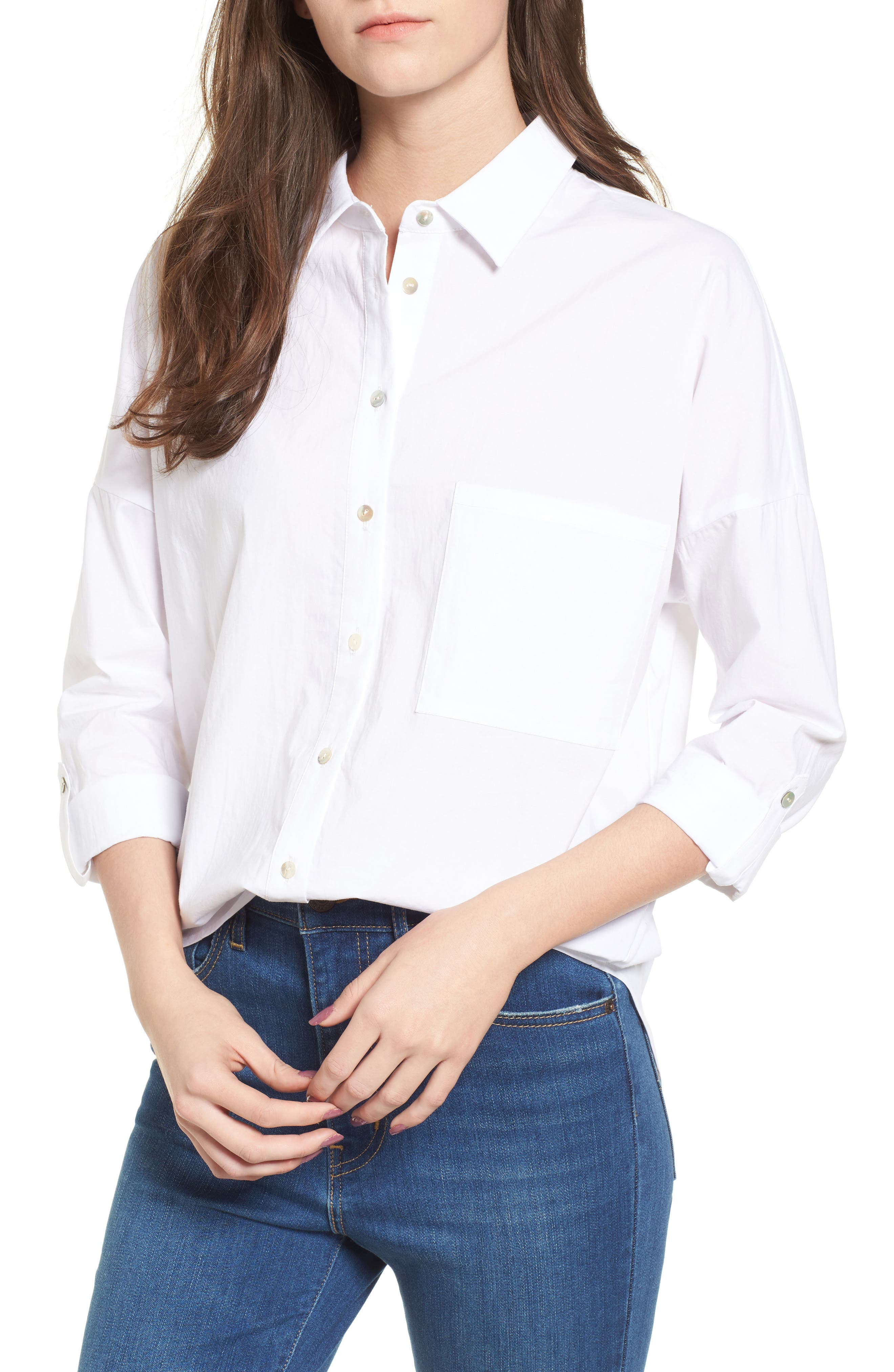 Embroidered Back Shirt,                             Main thumbnail 1, color,                             White