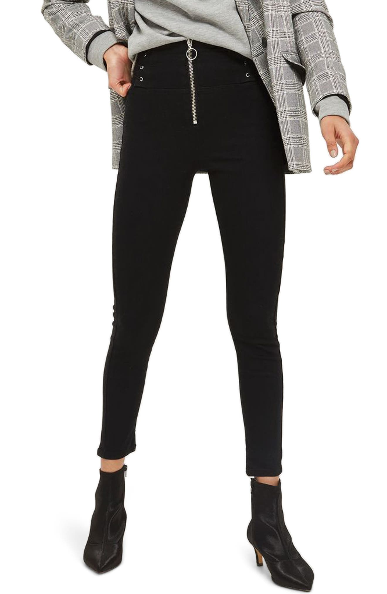 Topshop Jamie Exposed Zip Lace-Up Ankle Skinny Jeans