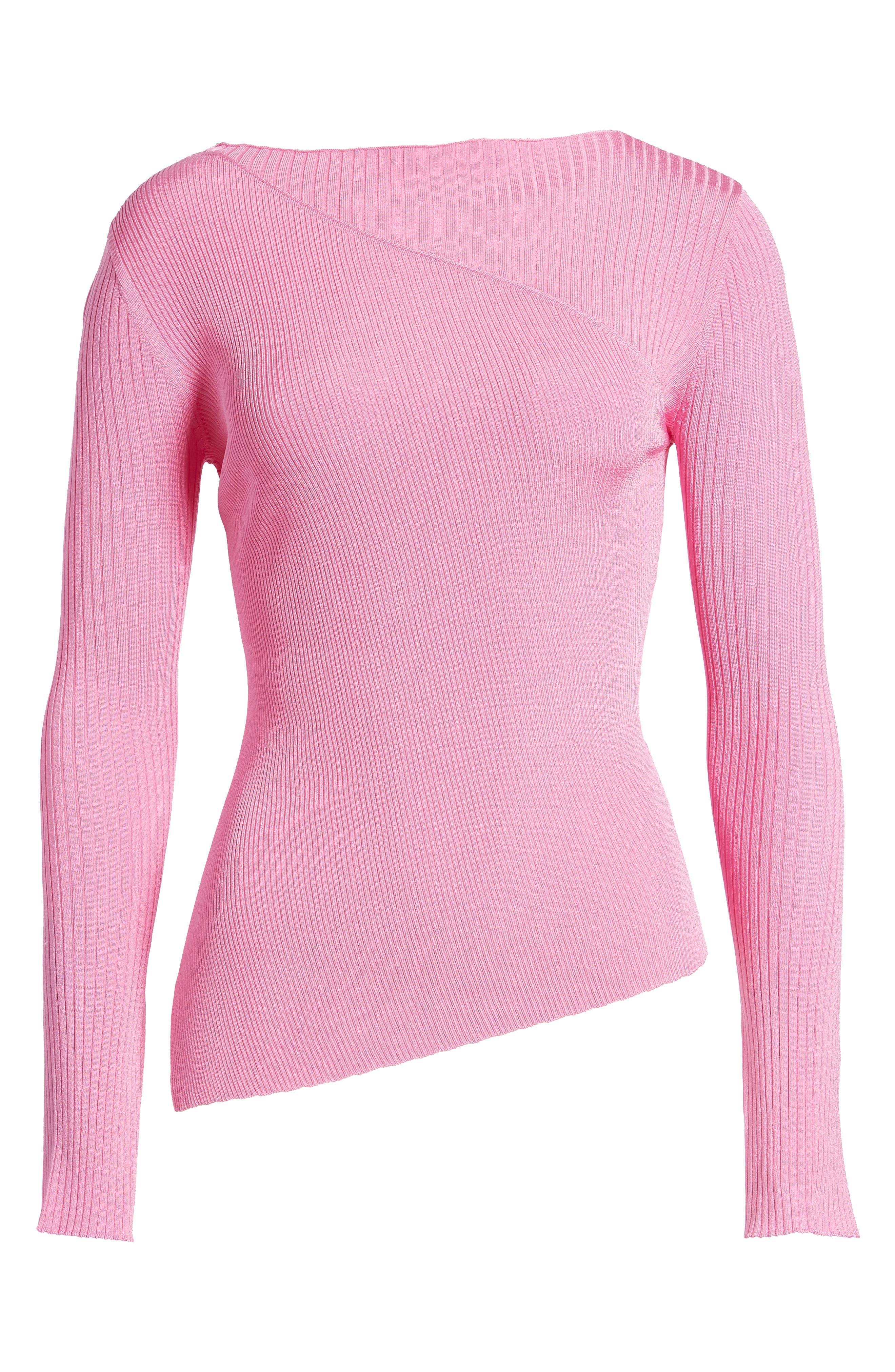 Slash Neck Asymmetrical Top,                         Main,                         color, Pink