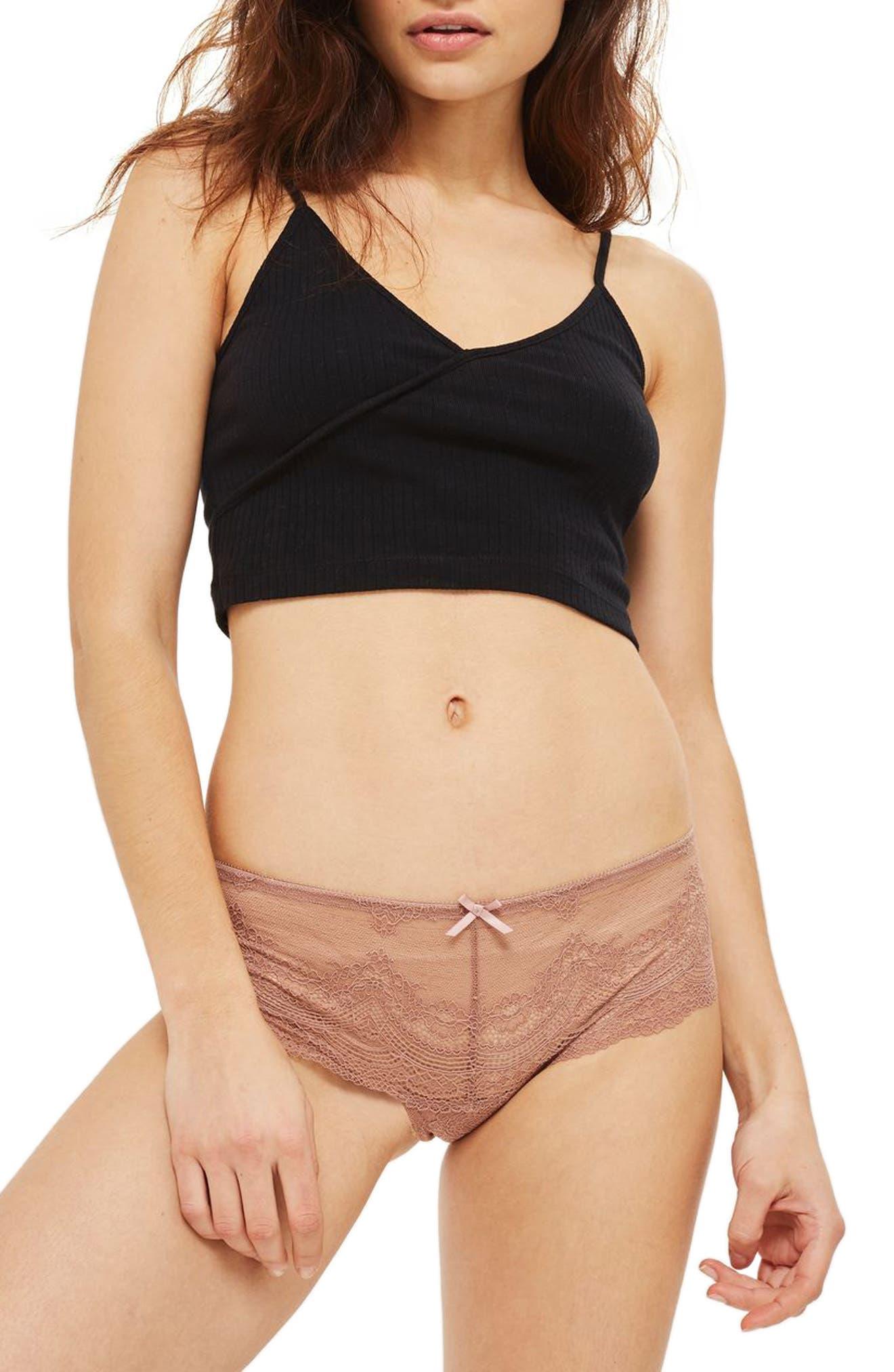 Deep Lace Brazilian Panties,                         Main,                         color, Taupe