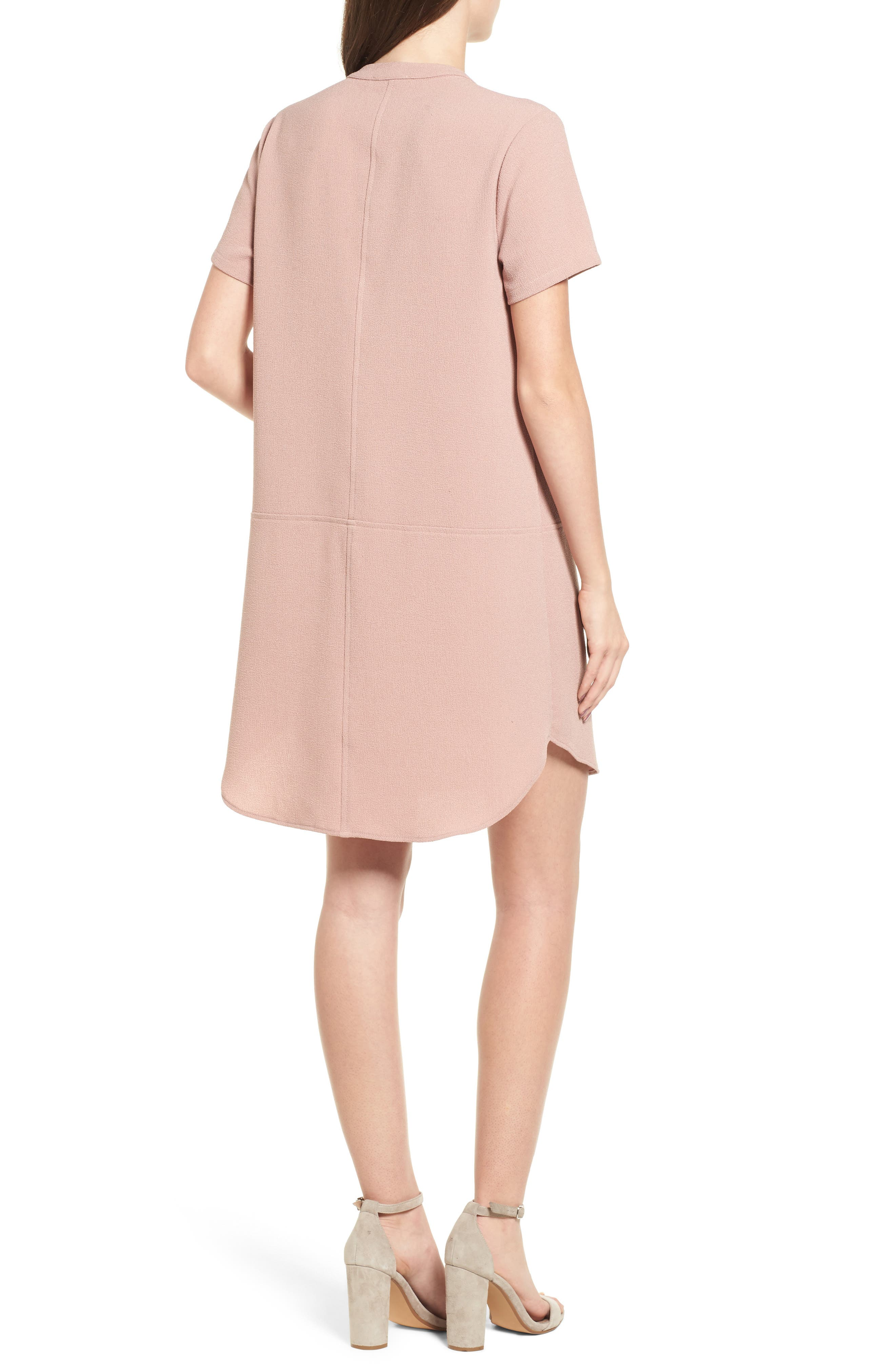 Hailey Crepe Dress,                             Alternate thumbnail 2, color,                             Pink Adobe