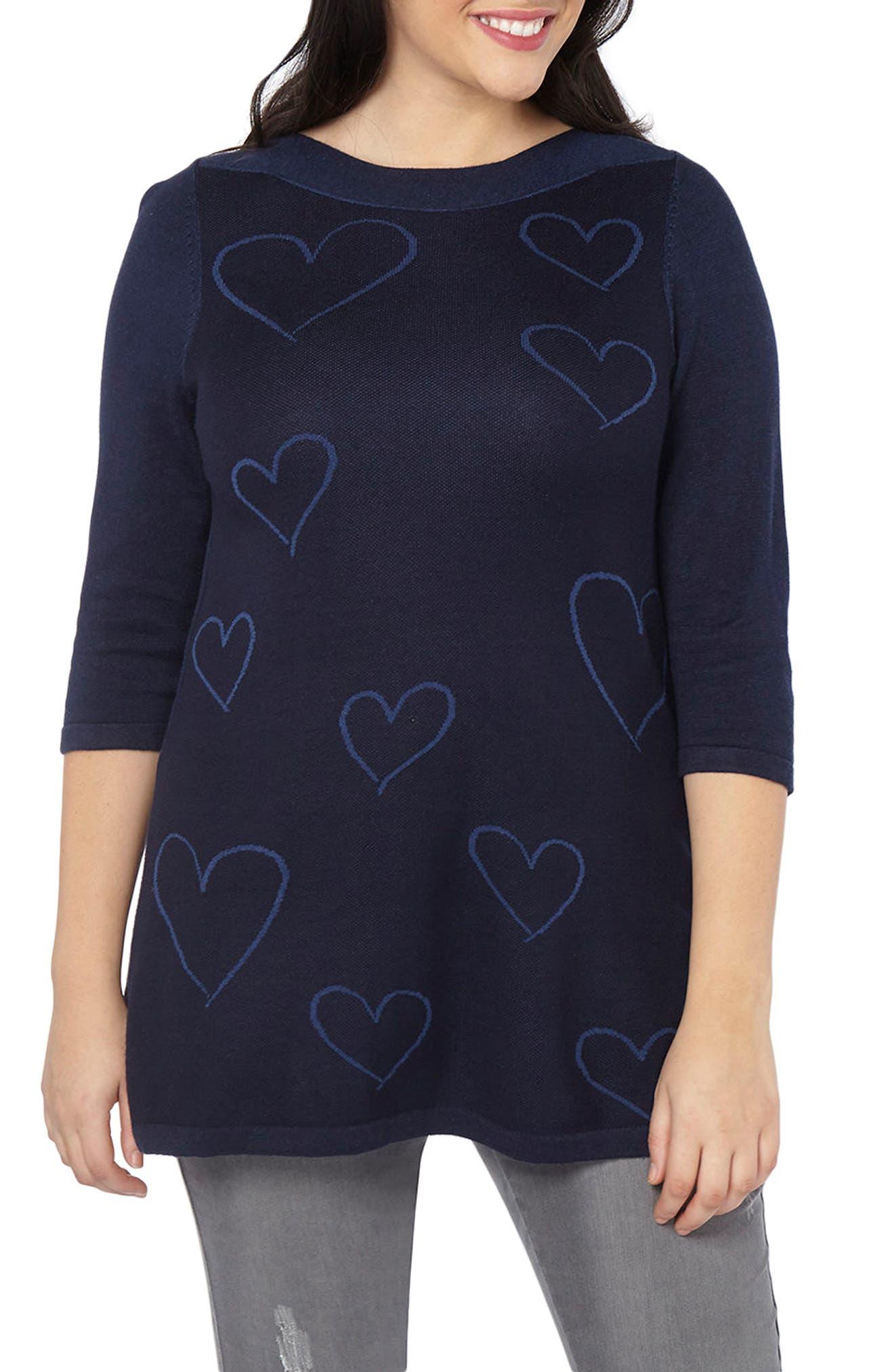 Heart Three Quarter Sleeve Tunic,                             Main thumbnail 1, color,                             Navy