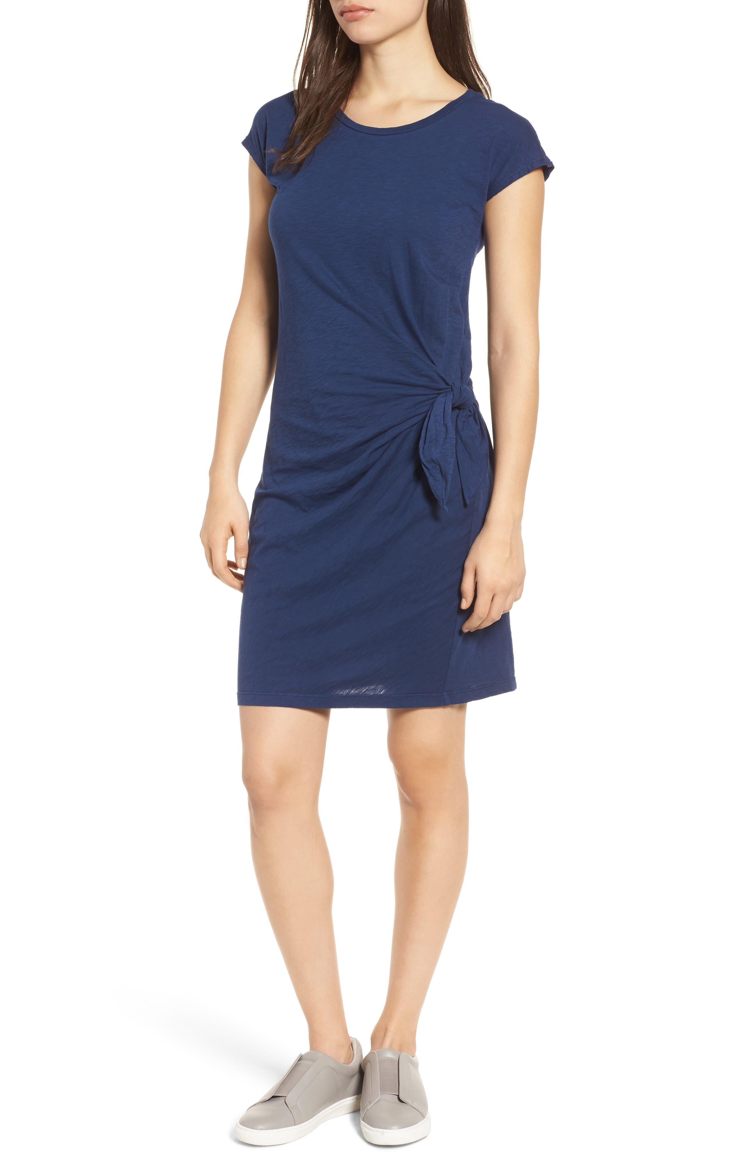 Main Image - Velvet by Graham & Spencer Cotton Slub Tie Waist Dress