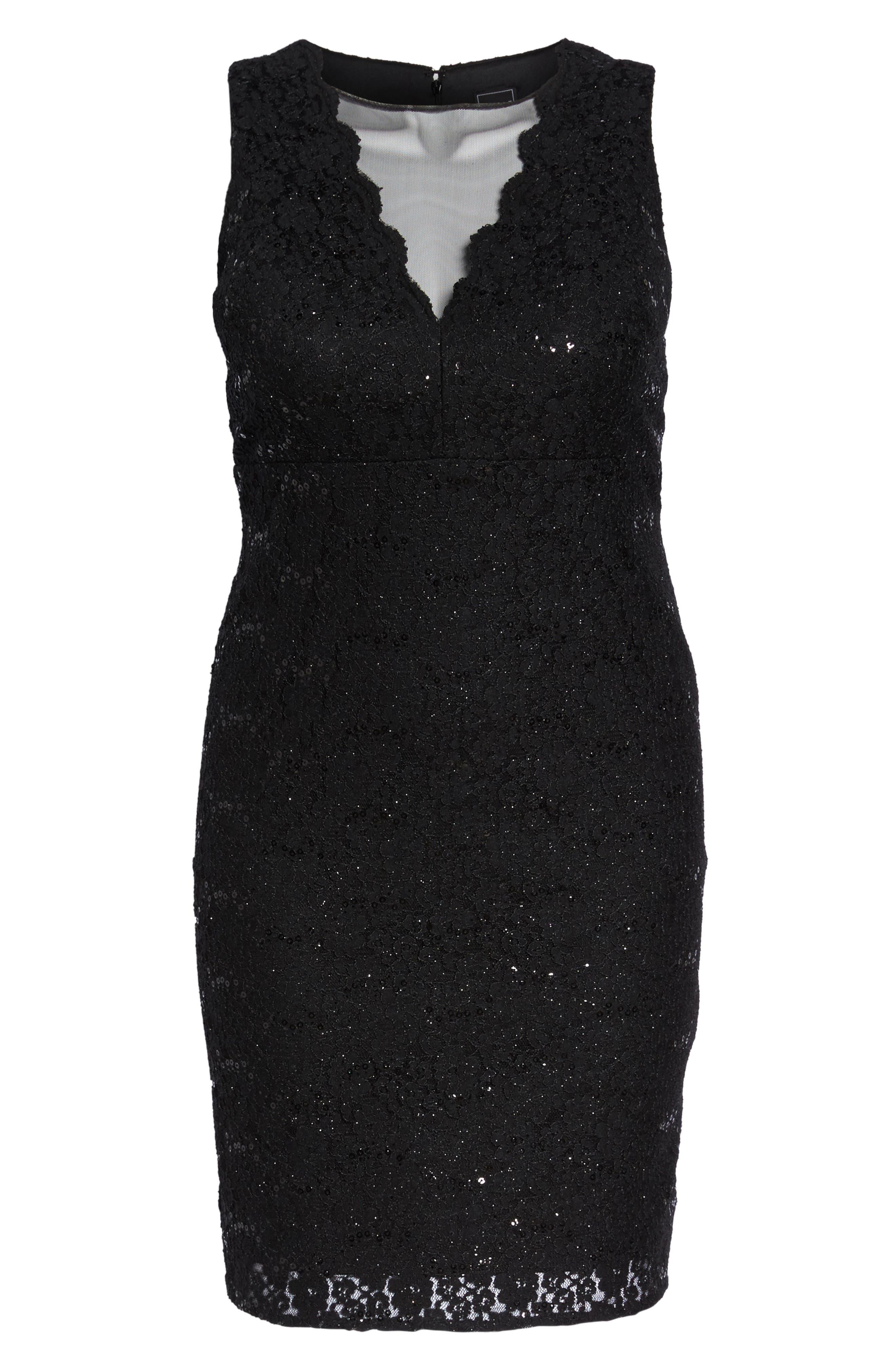 Sequin Lace & Mesh Body-Con Dress,                             Alternate thumbnail 6, color,                             Black