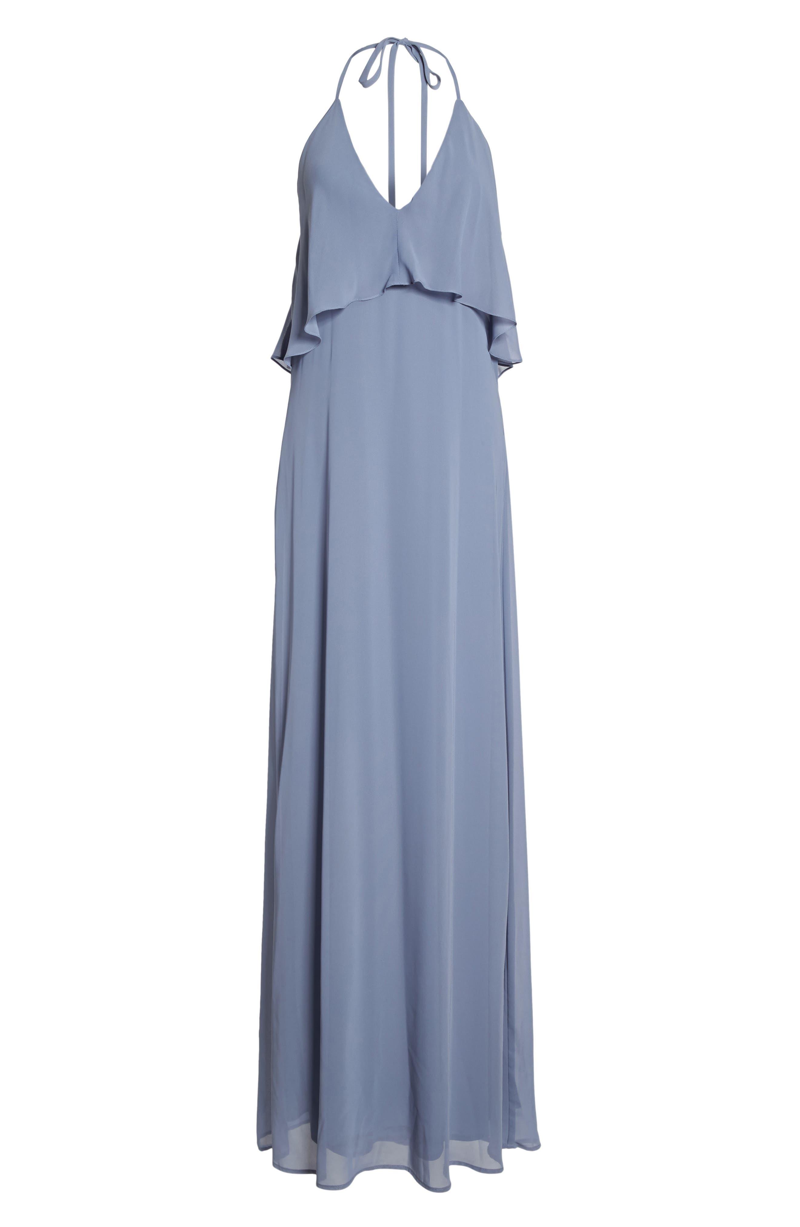 Alternate Image 6  - nouvelle AMSALE Ruffle Halter Neck Chiffon Gown