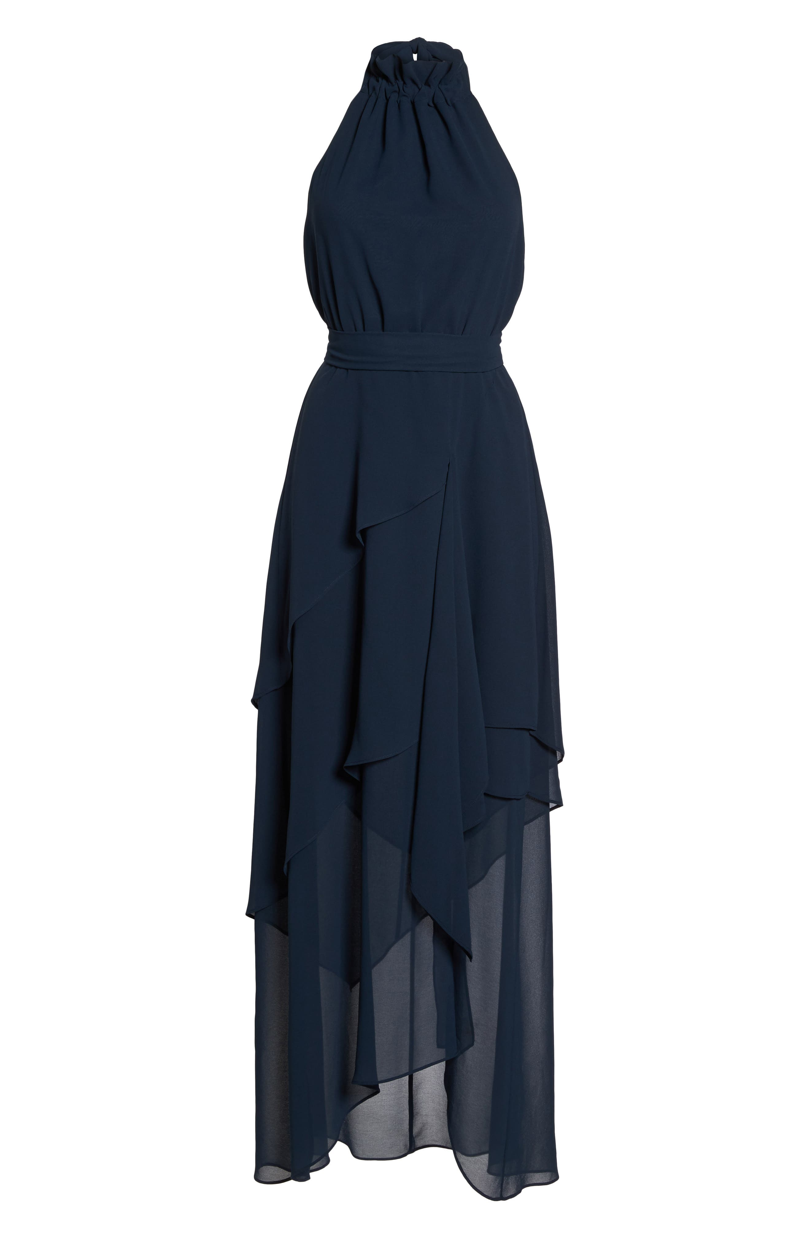 Allude Tiered Halter Maxi Dress,                             Alternate thumbnail 7, color,                             Navy