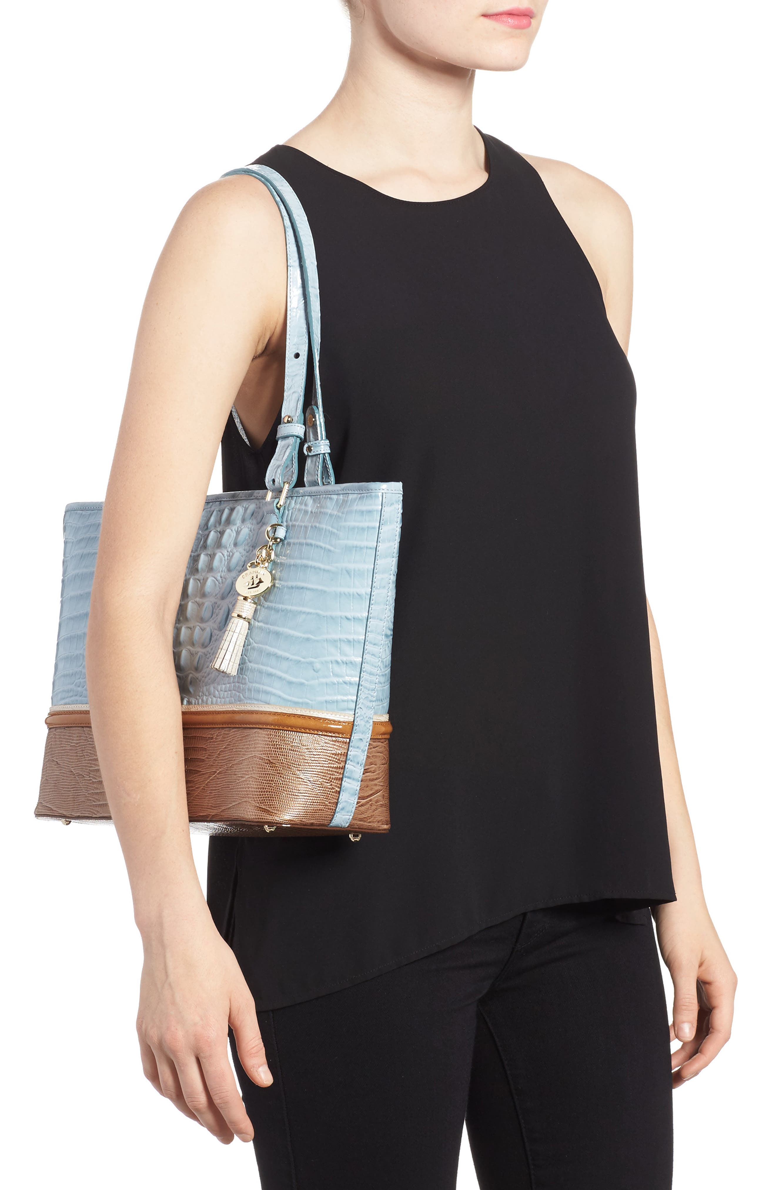 Medium Asher Leather Tote,                             Alternate thumbnail 2, color,                             Sky