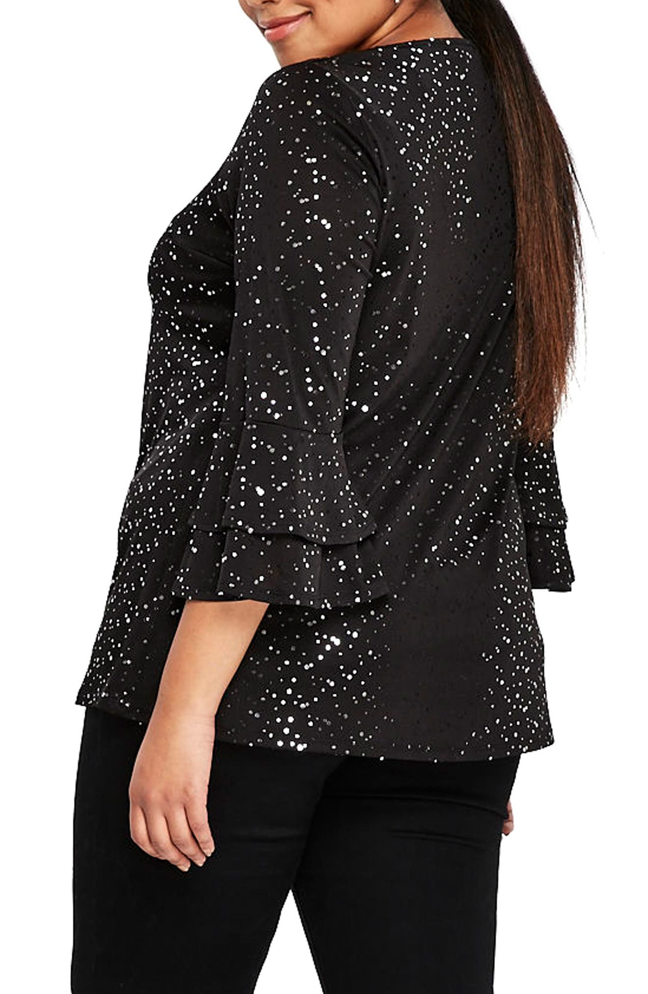 Alternate Image 2  - Evans Sparkle Bell Sleeve Top (Plus Size)