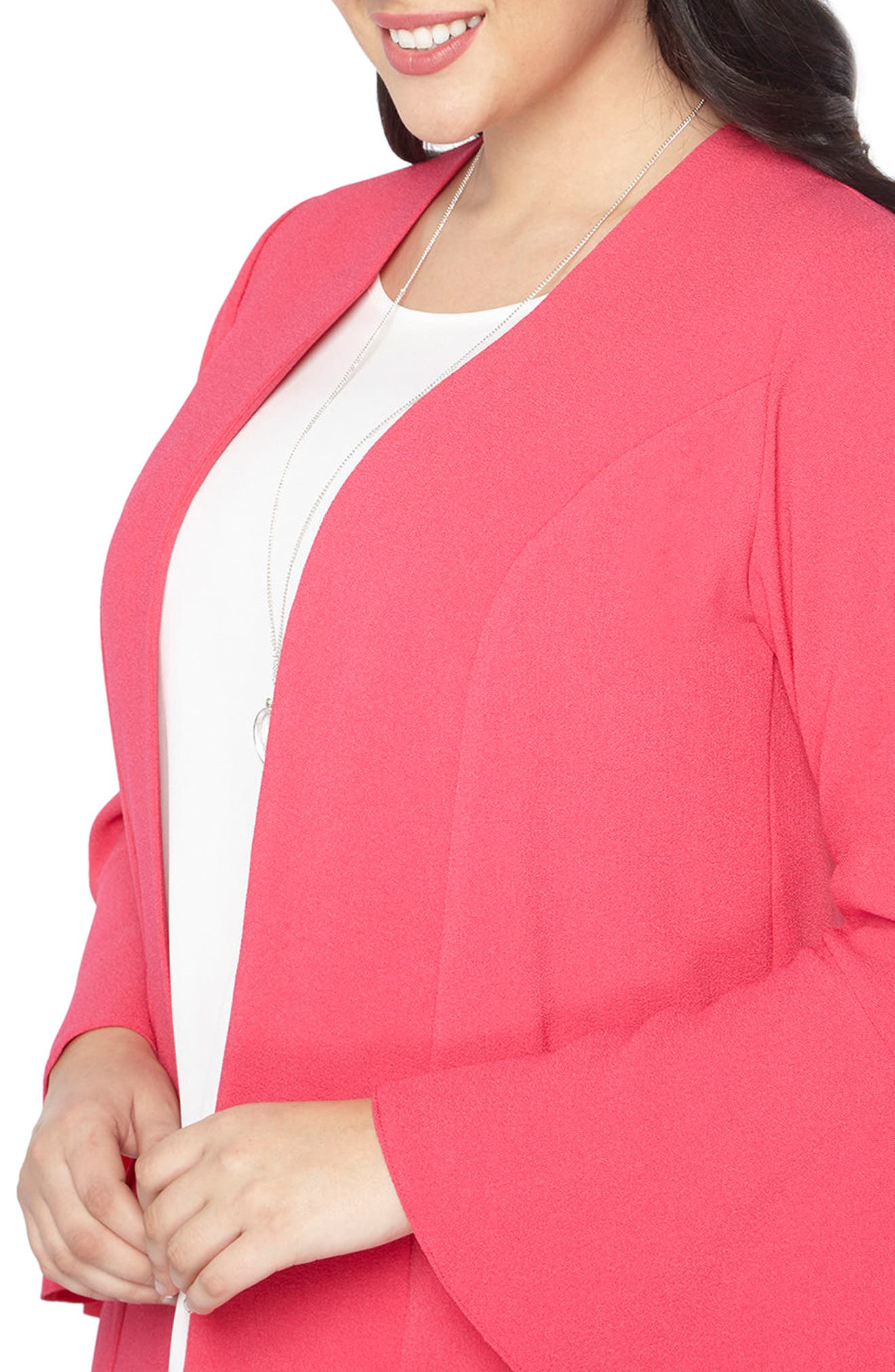Ruffle Sleeve Jacket,                             Alternate thumbnail 4, color,                             Hot Pink