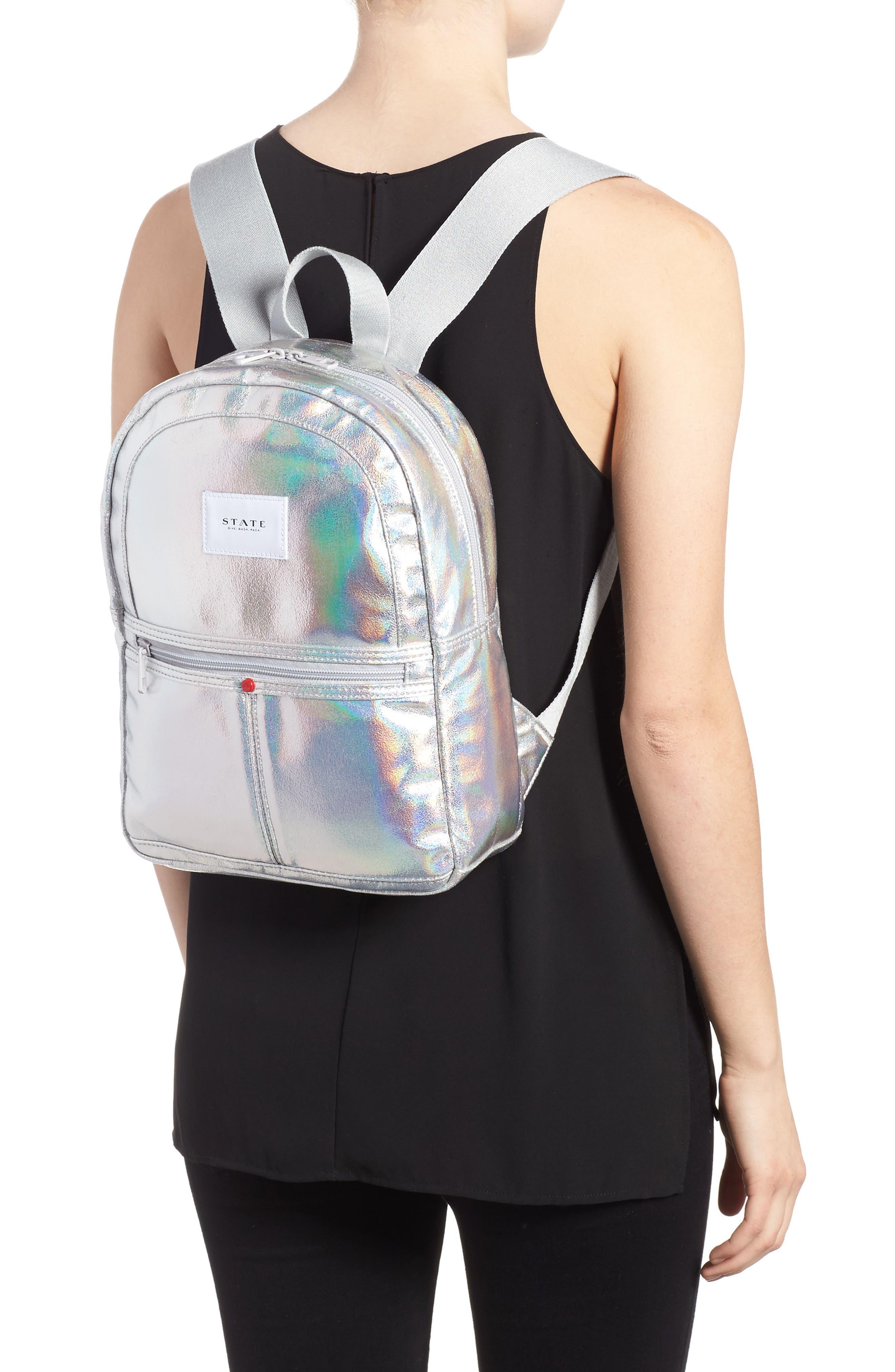 Starrett City - Mini Kane Iridescent Backpack,                             Alternate thumbnail 2, color,                             Silver