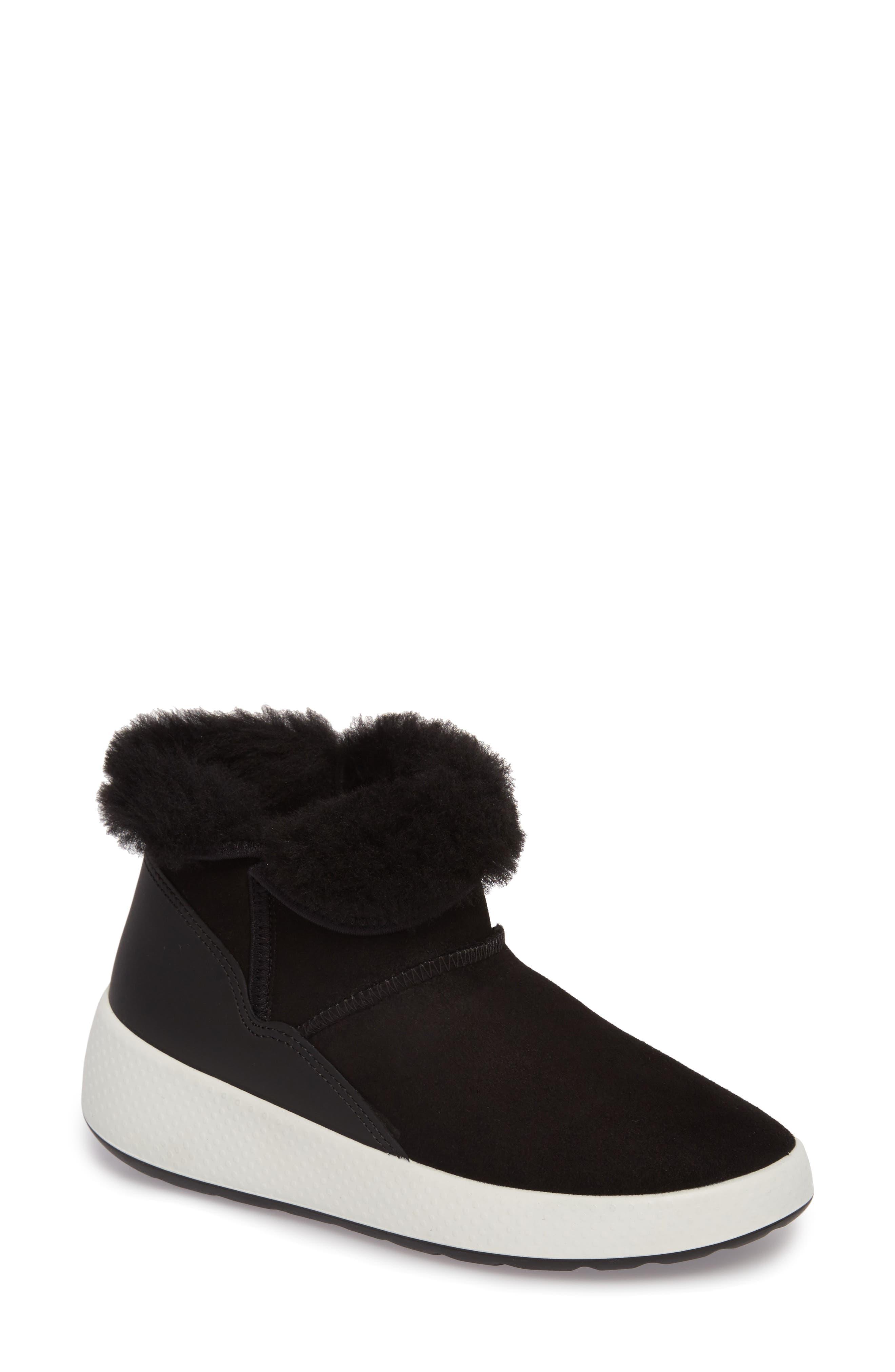 Ukiuk Genuine Shearling Boot,                             Main thumbnail 1, color,                             Black Leather