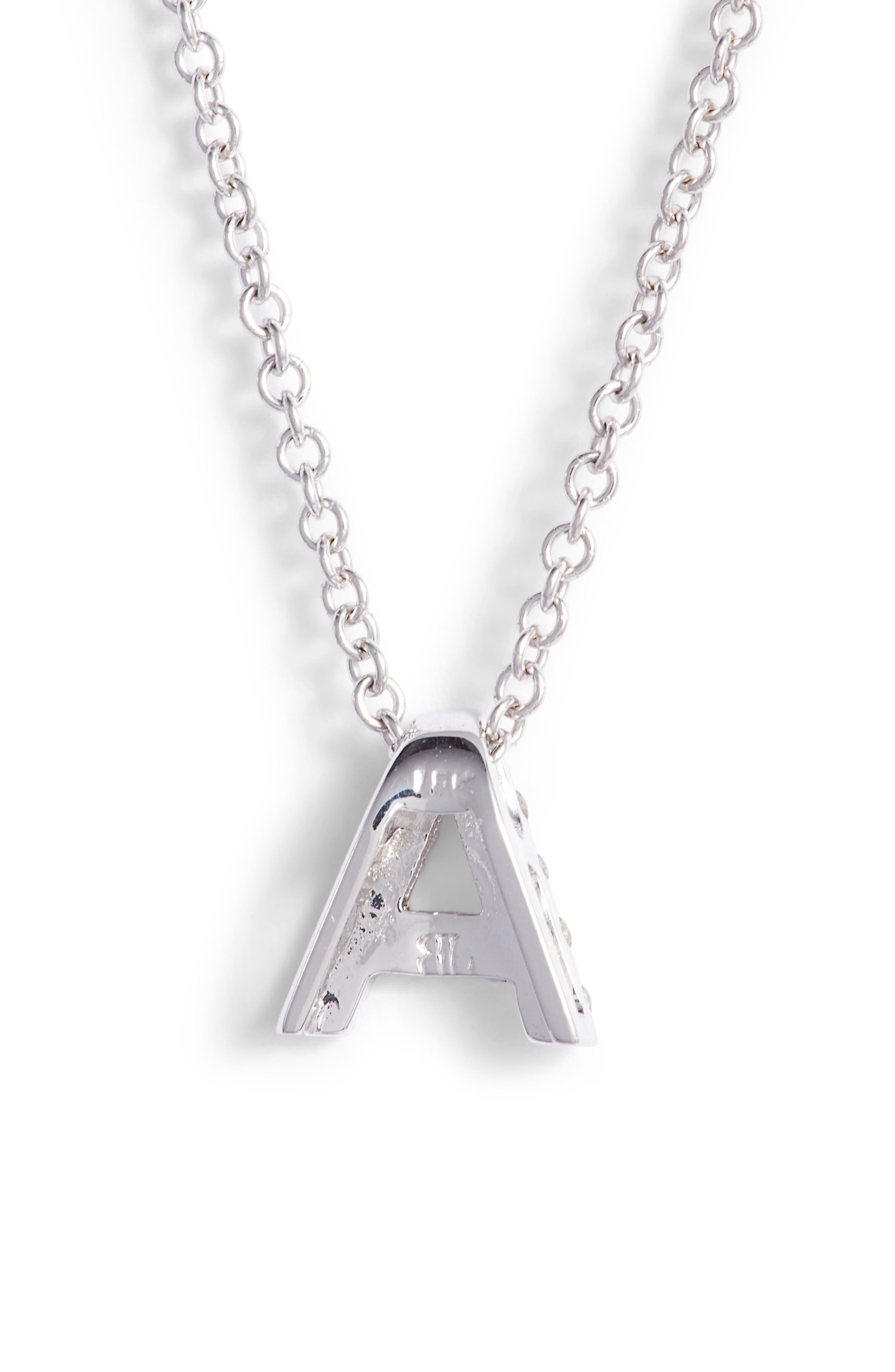 18k Gold Pavé Diamond Initial Pendant Necklace,                             Alternate thumbnail 4, color,                             White Gold - A