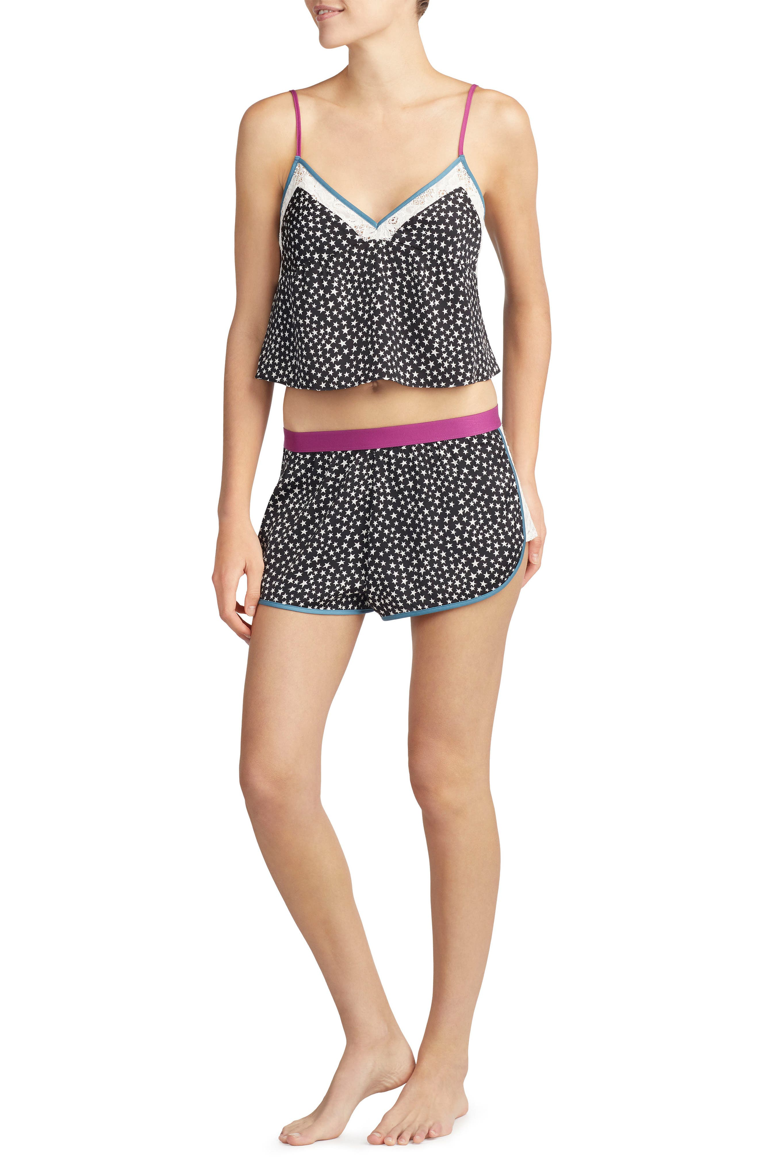 Satin Crop Camisole,                             Main thumbnail 1, color,                             Black / White Star Toss