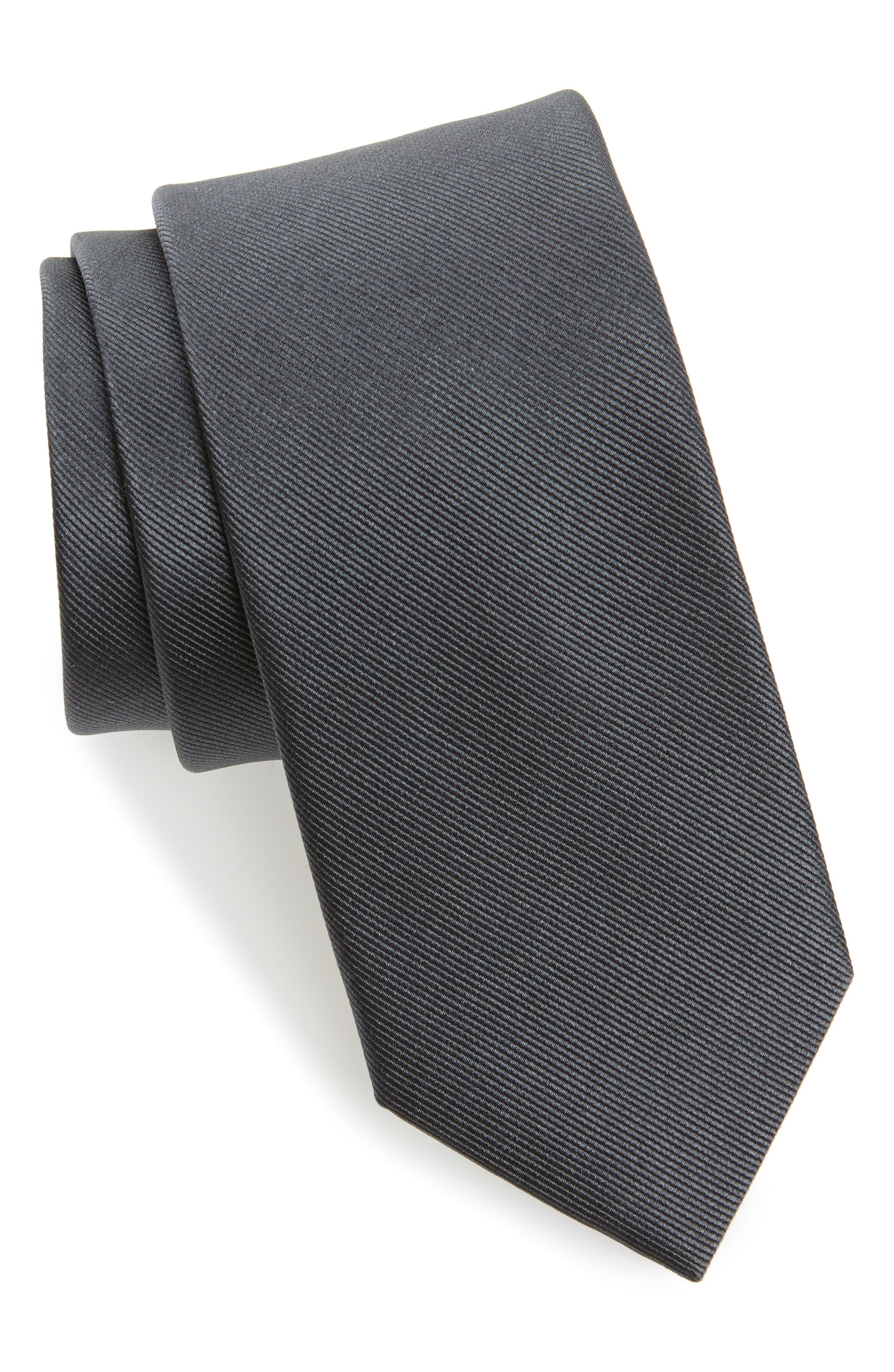 Grosgrain Silk Tie,                         Main,                         color, Charcoal