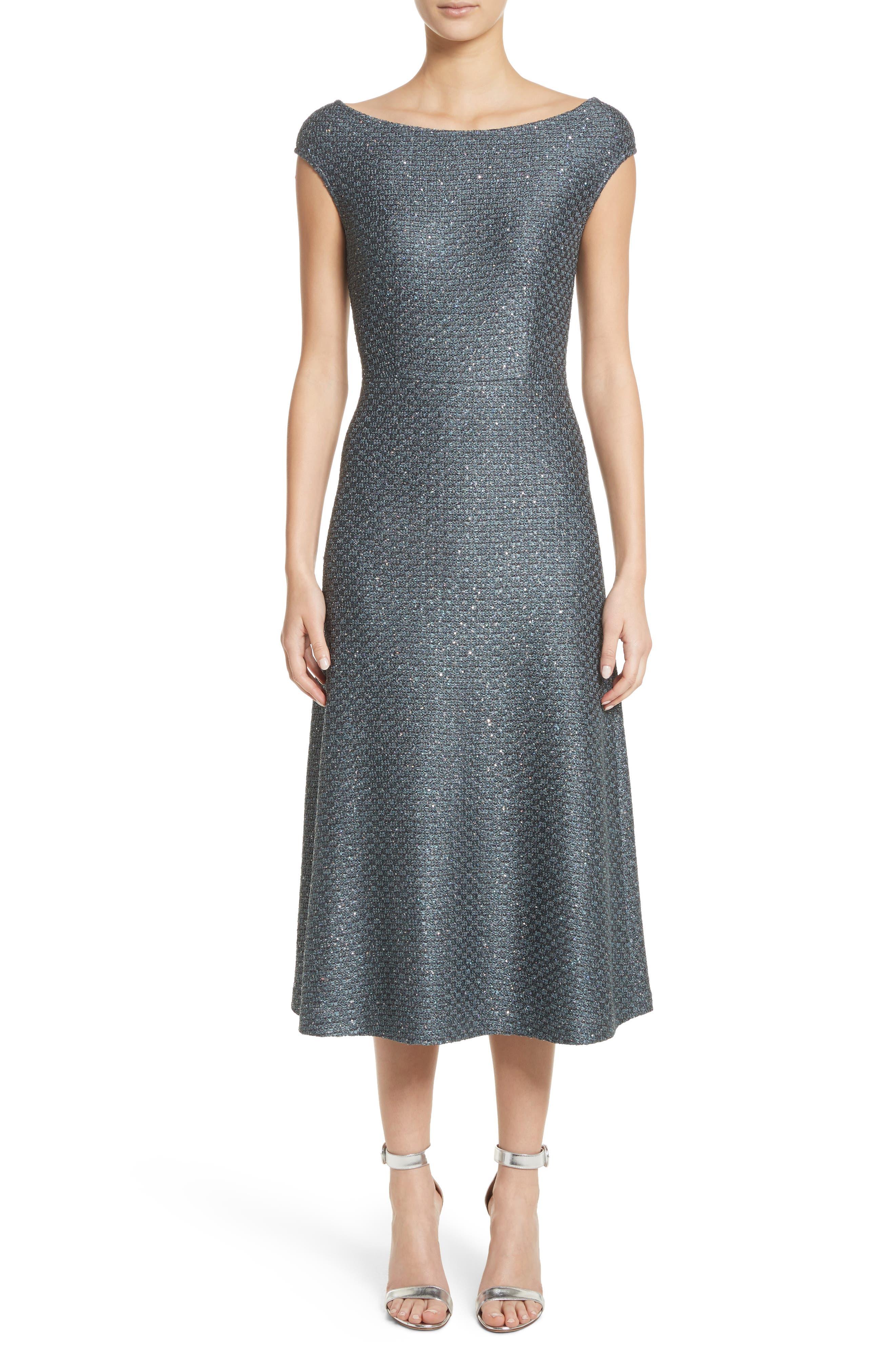 St. John Collection Sequin Knit Midi Dress