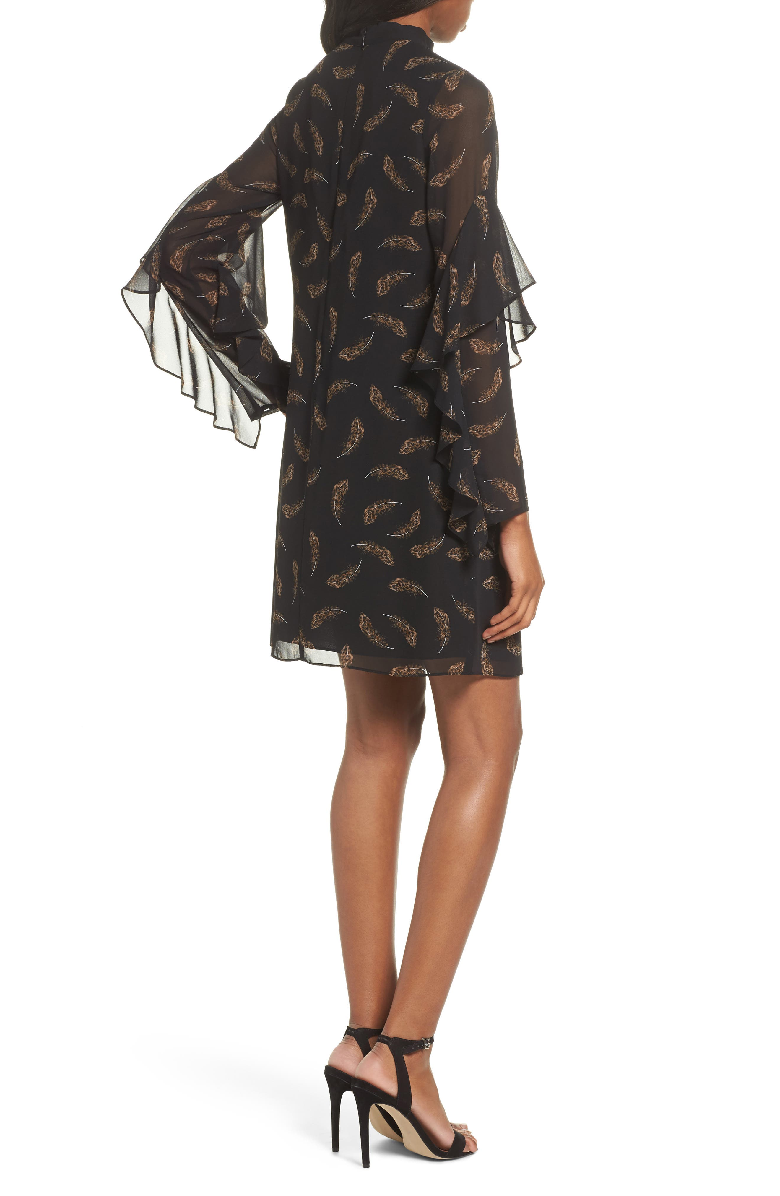 Feather Print Choker Collar Dress,                             Alternate thumbnail 2, color,                             Leopard Feather