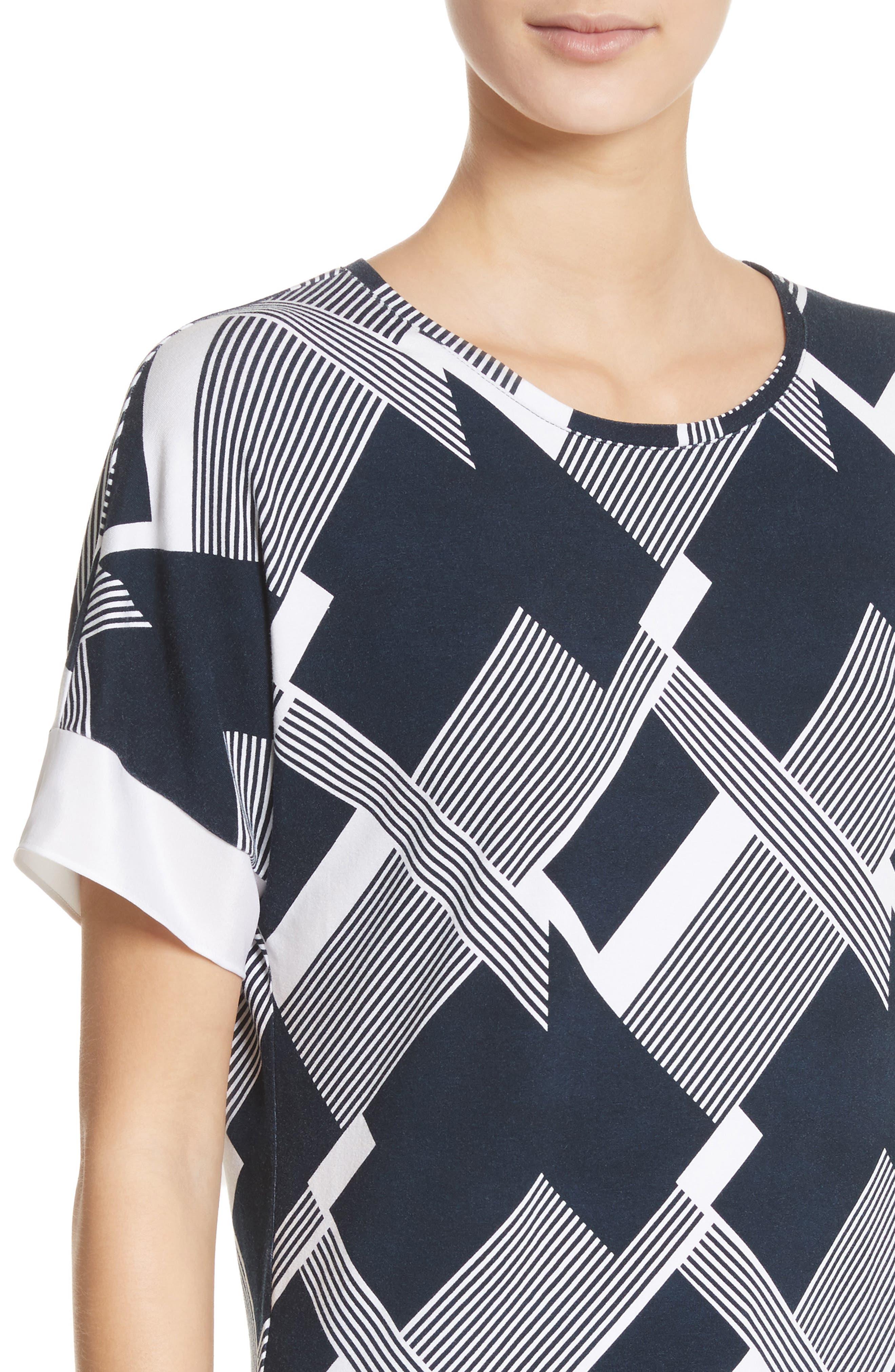 Geometric Line Print Tee,                             Alternate thumbnail 4, color,                             Navy/ Bianco