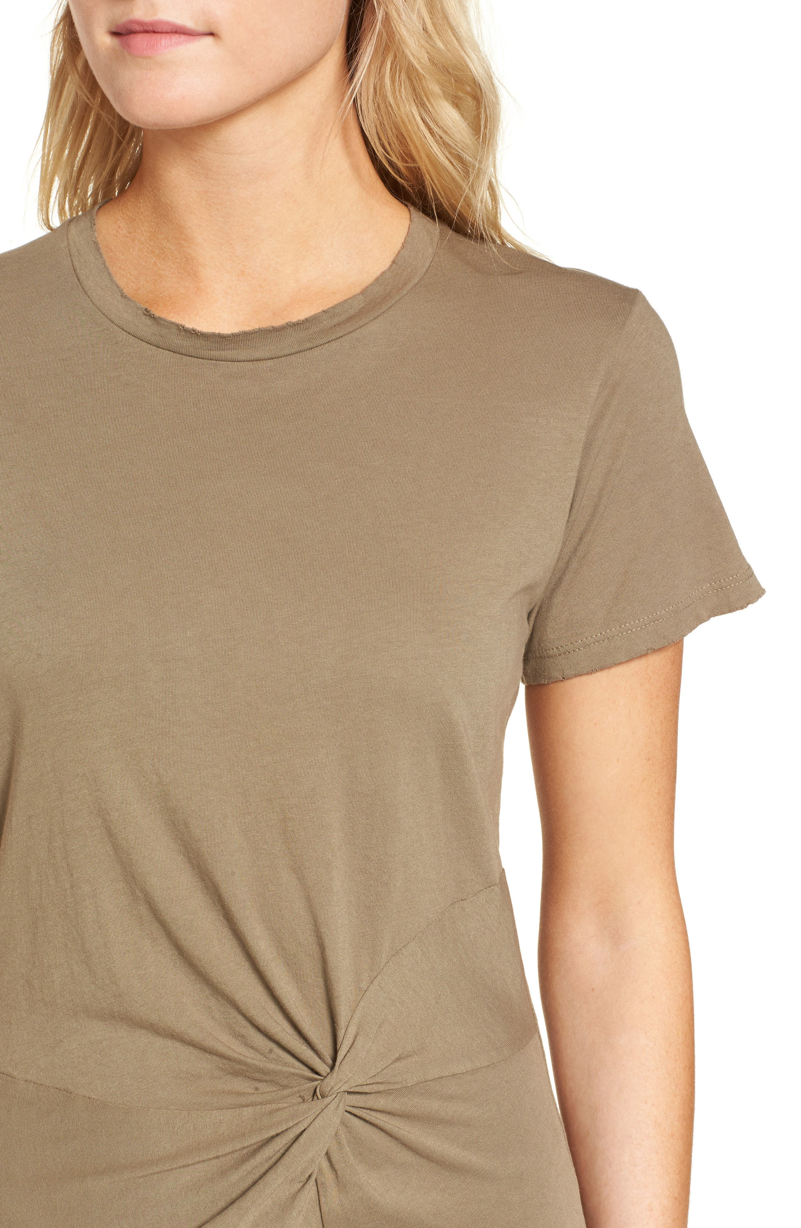Jazz Knotted T-Shirt Dress,                             Alternate thumbnail 4, color,                             Army