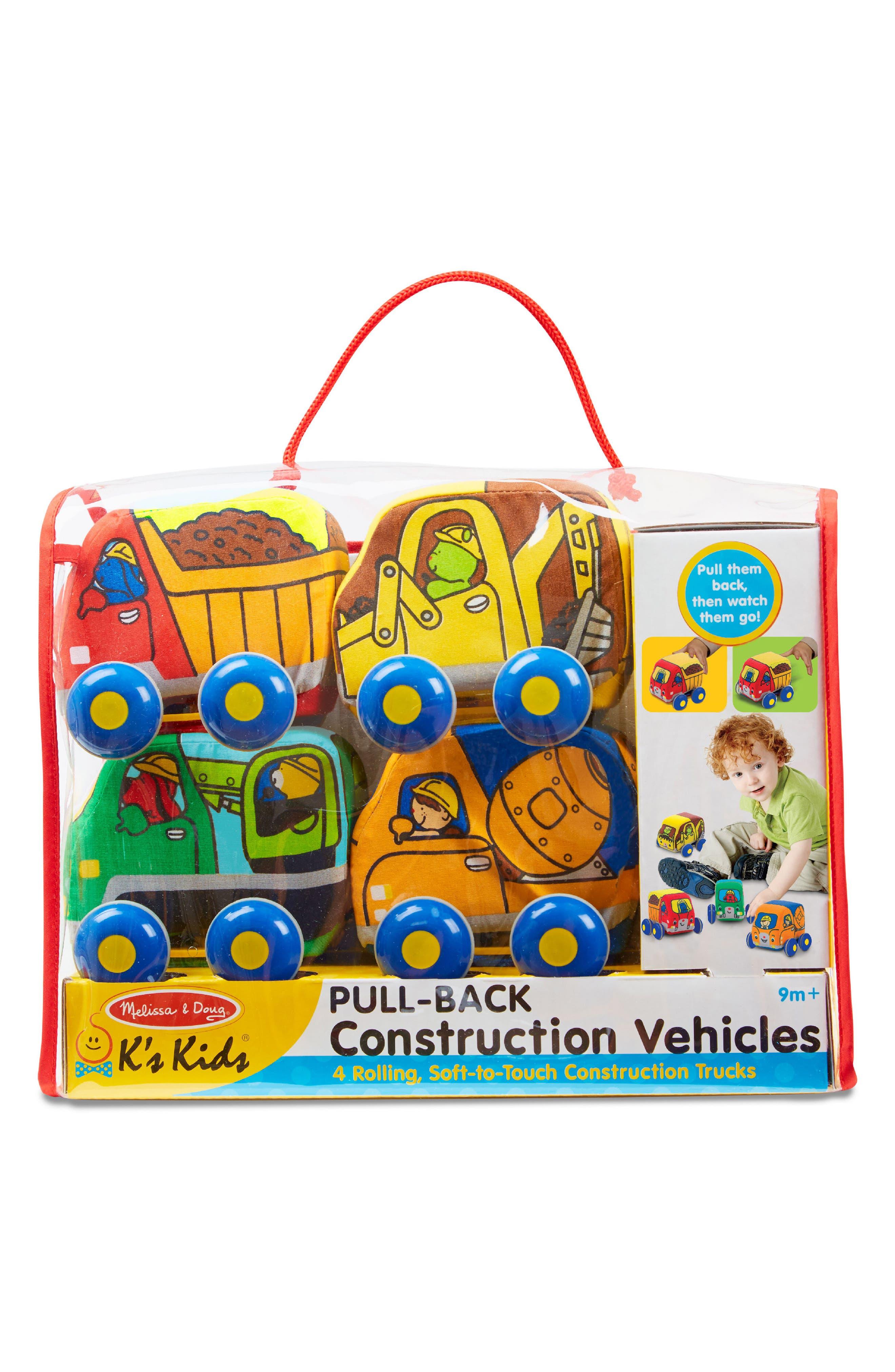 Melissa & Doug 4-Pack Pull Back Construction Vehicle Play Set