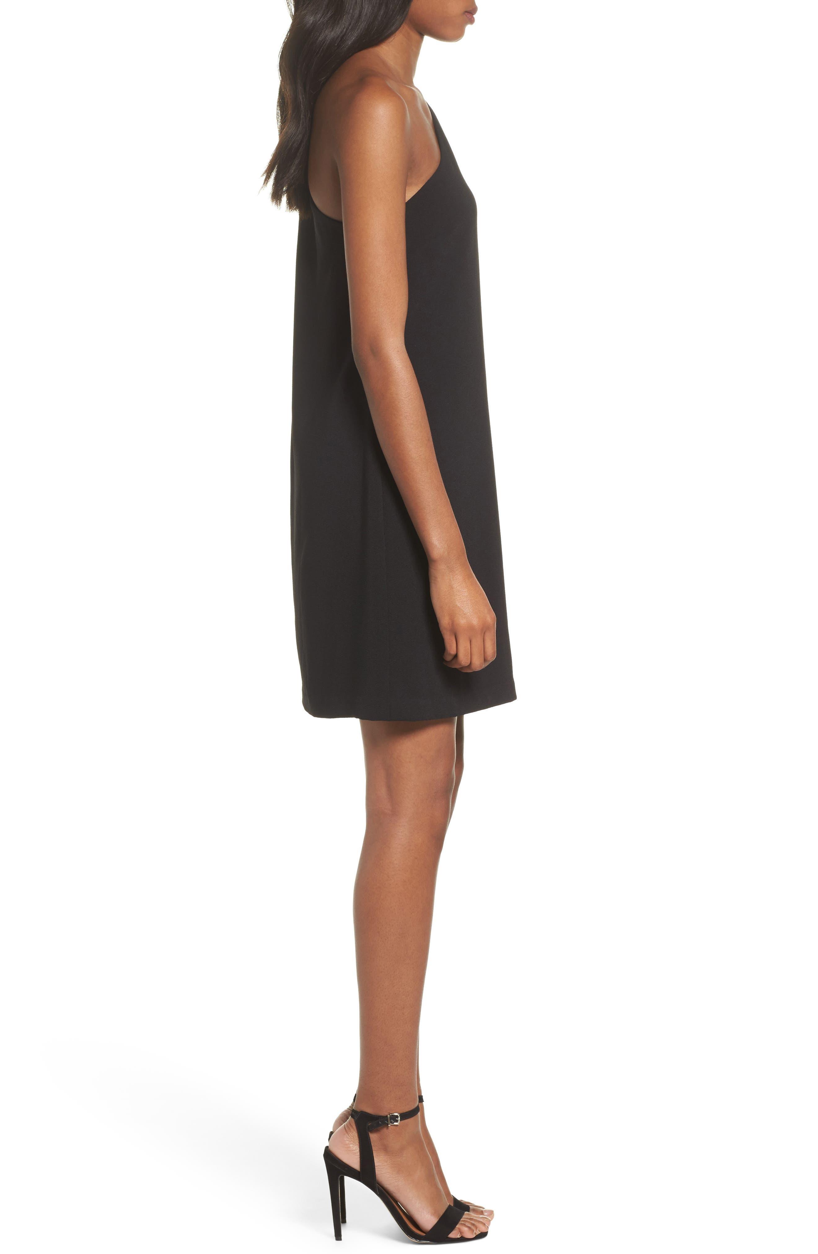 One-Shoulder Shift Dress,                             Alternate thumbnail 3, color,                             Black