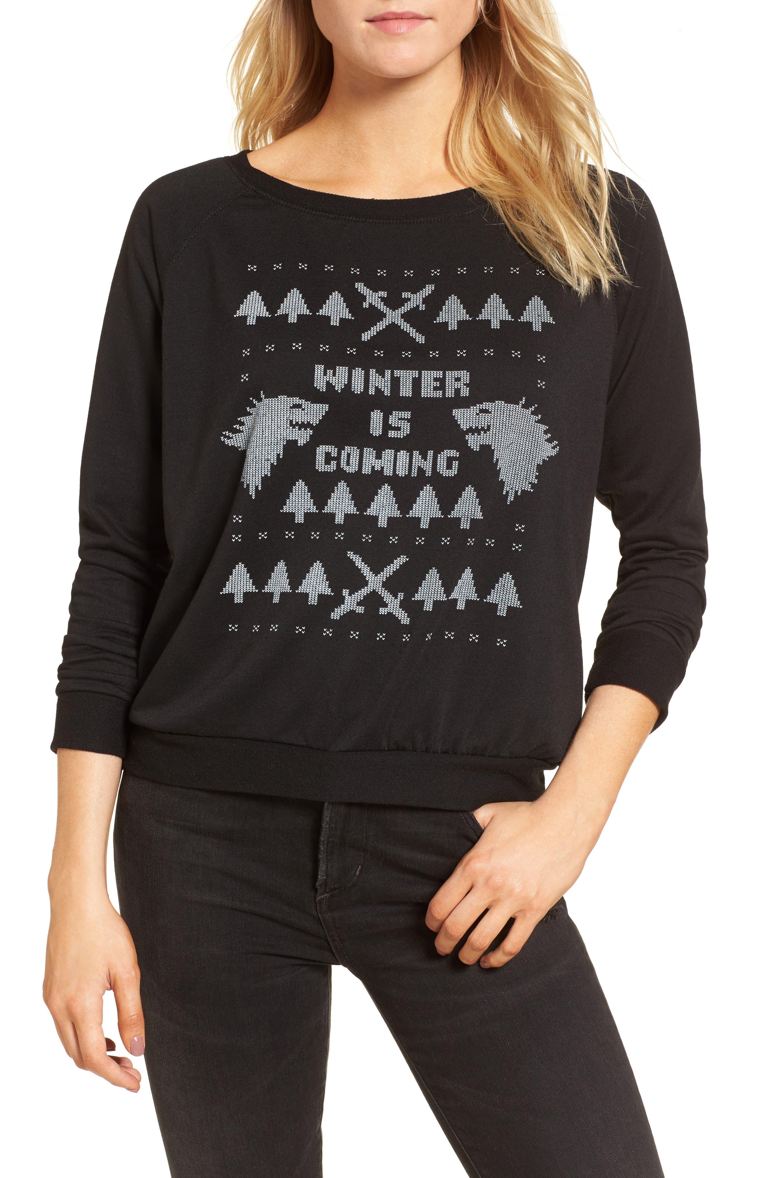 Winter Is Coming Sweatshirt,                             Main thumbnail 1, color,                             Black