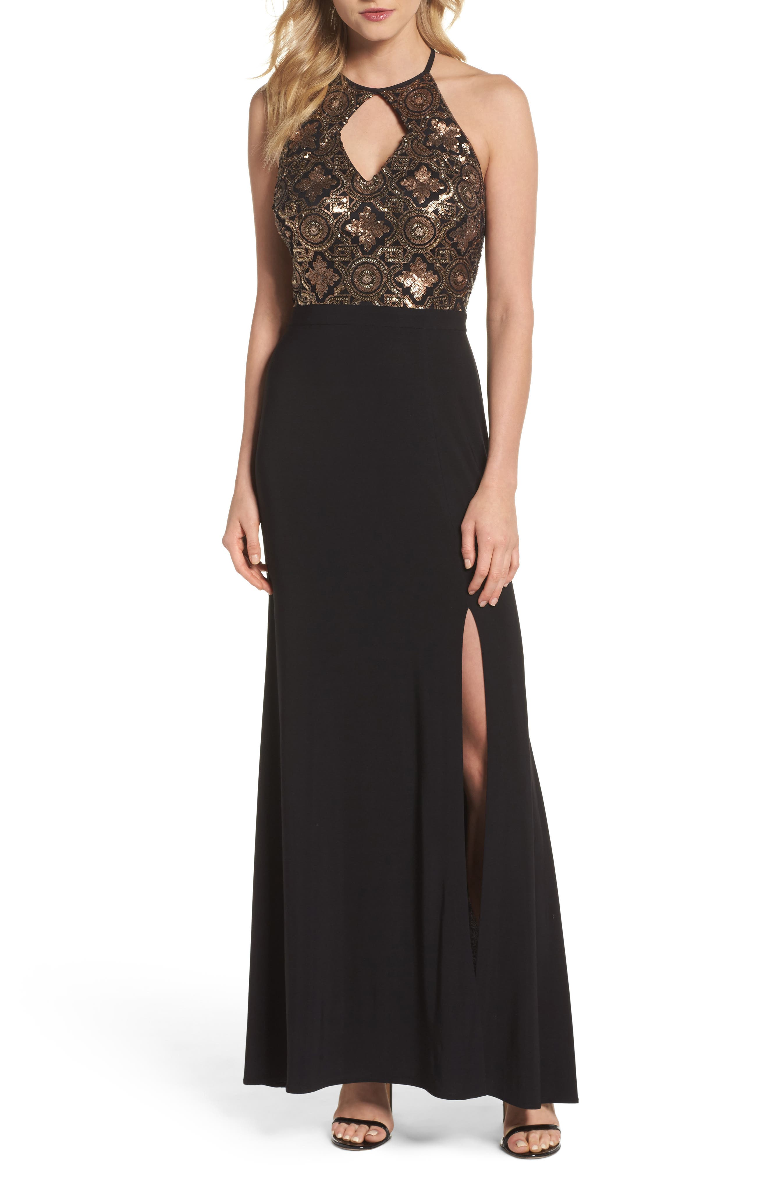 Sequin Cutout Bodice Gown,                             Main thumbnail 1, color,                             Black/ Gold