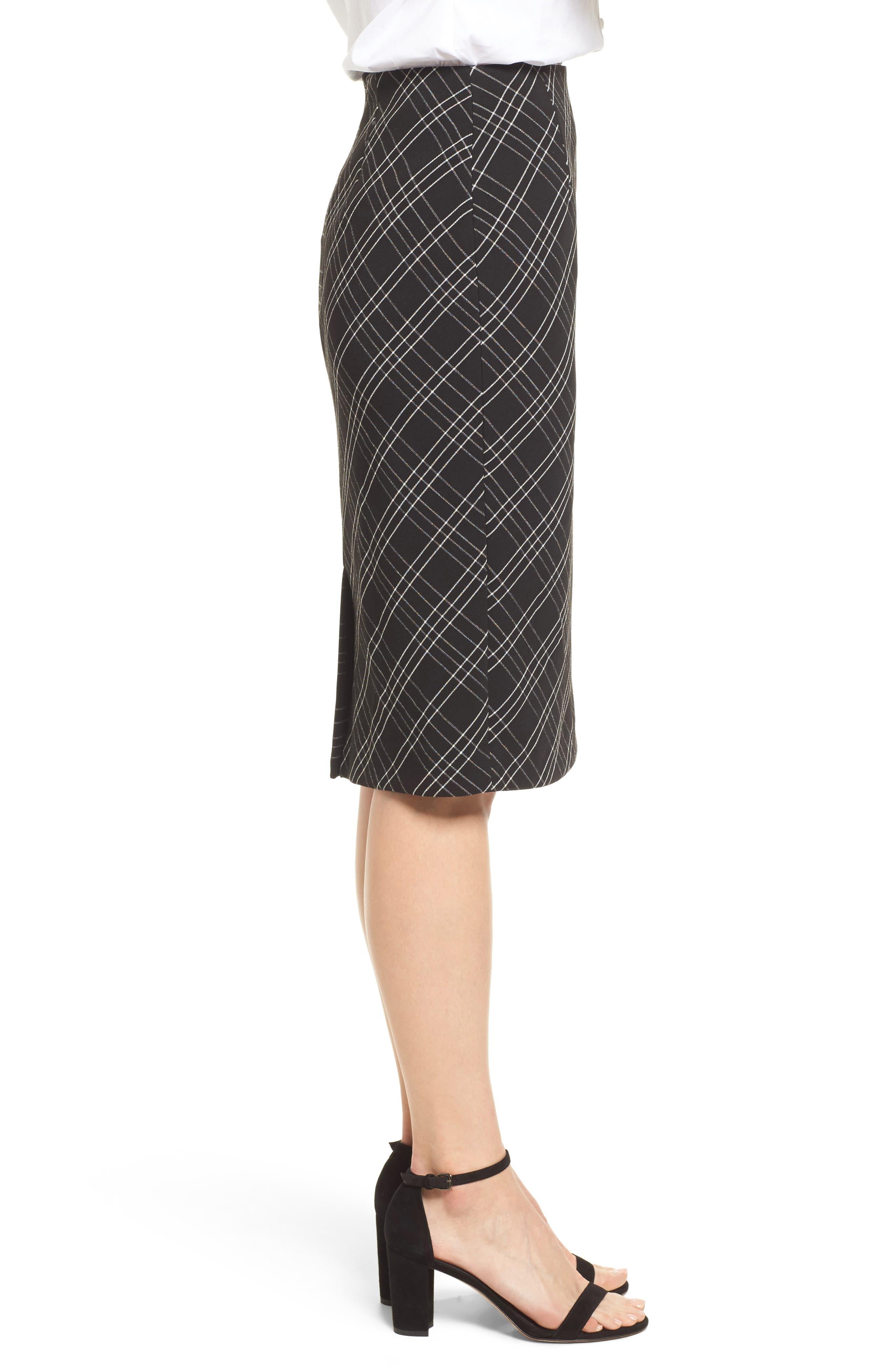 Plaid Pencil Skirt,                             Alternate thumbnail 3, color,                             Black- White Plaid