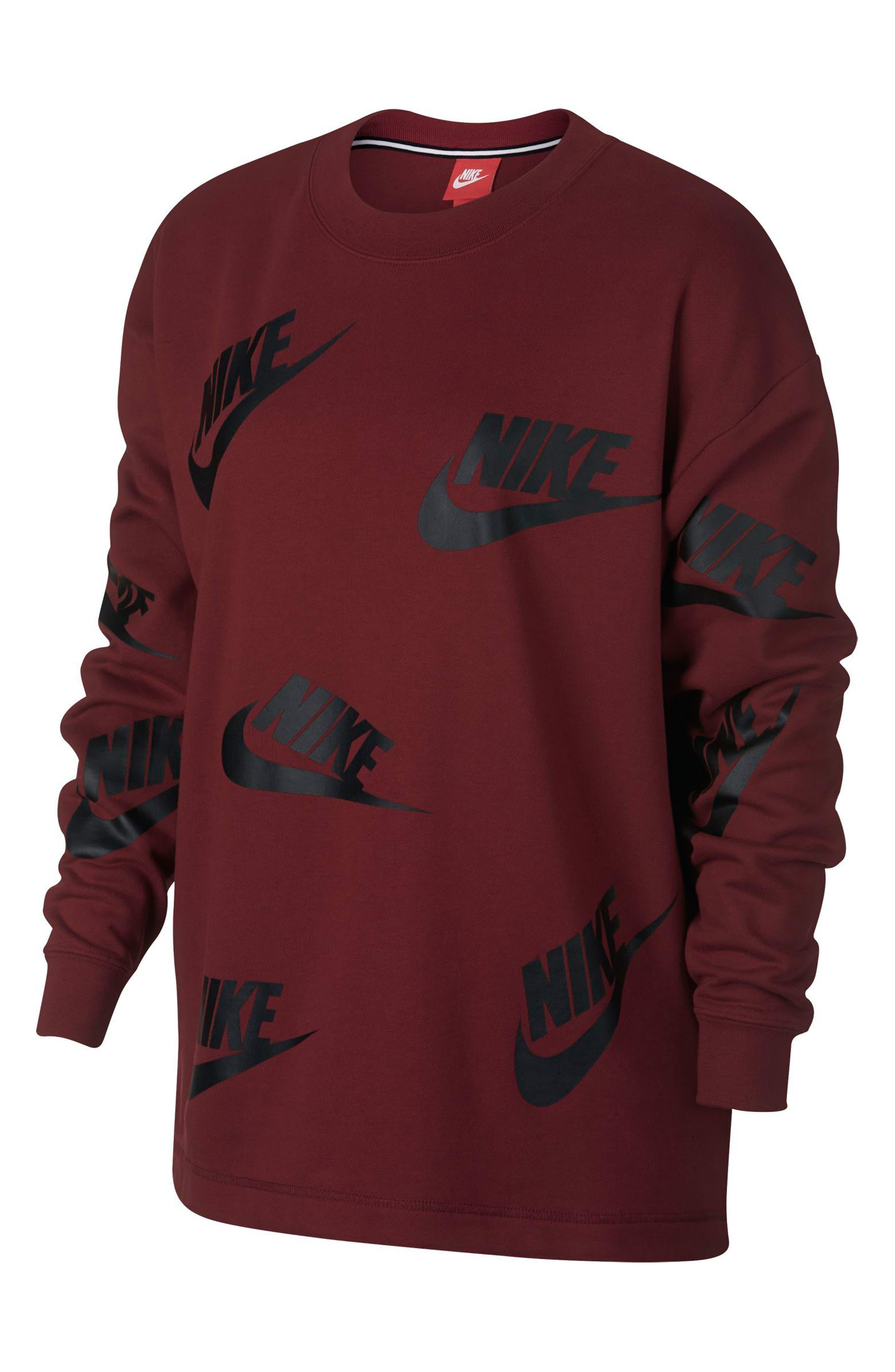 Sportswear Futura Women's Crewneck Sweatshirt,                         Main,                         color, Team Red/ Black