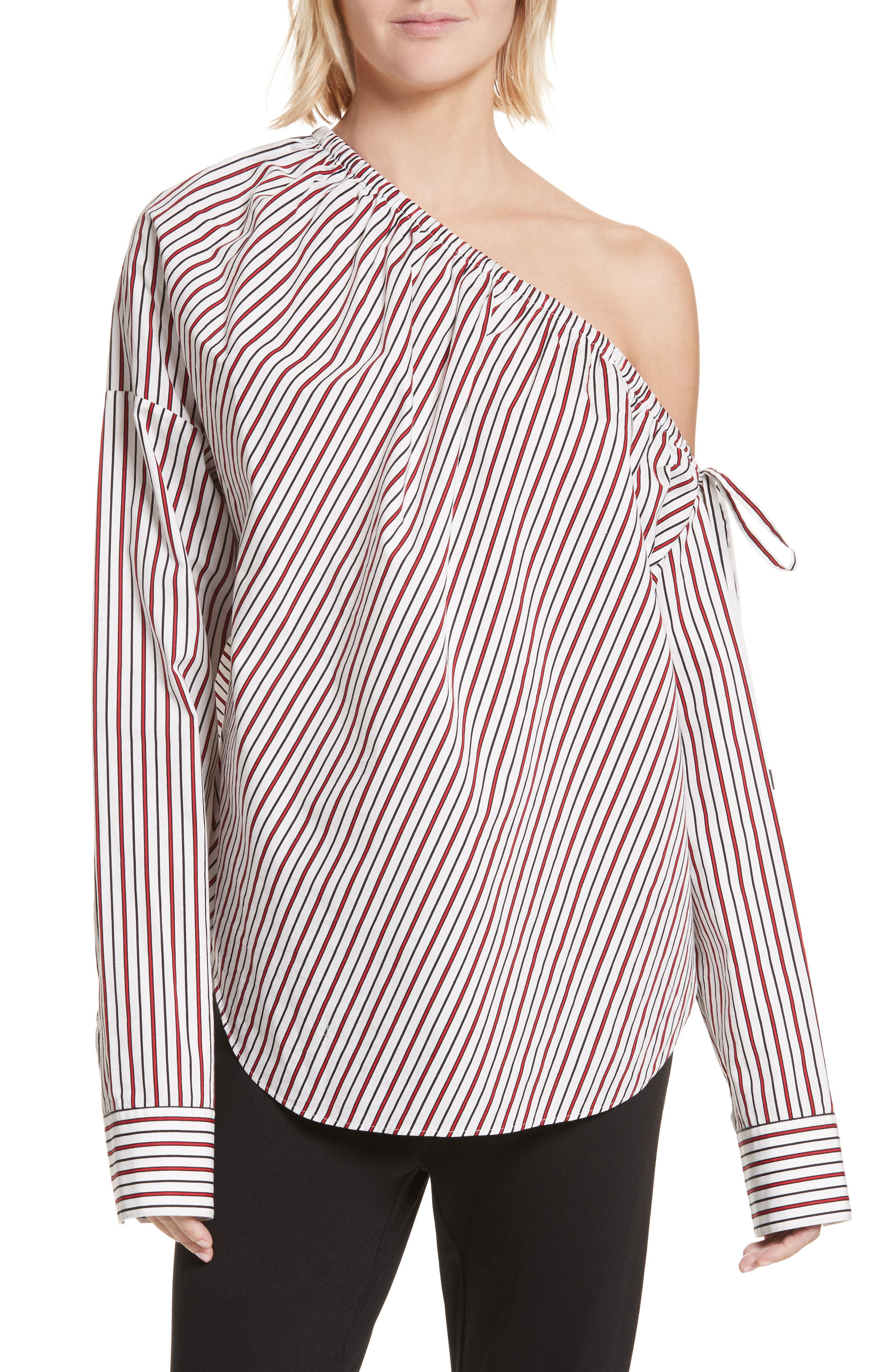 Cinched One-Shoulder Top,                         Main,                         color, Red Stripe