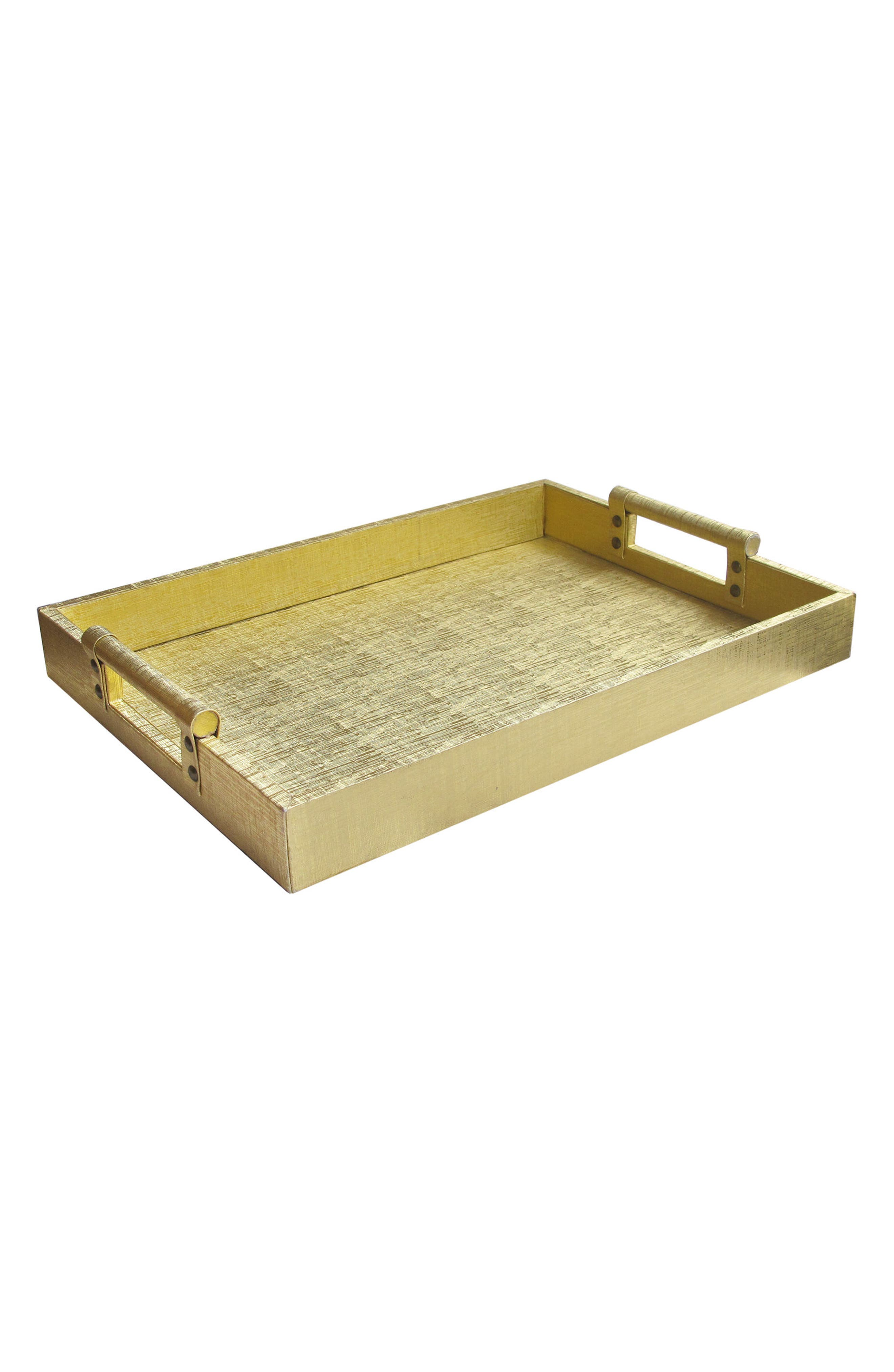 American Atelier Metallic Leather Serving Tray