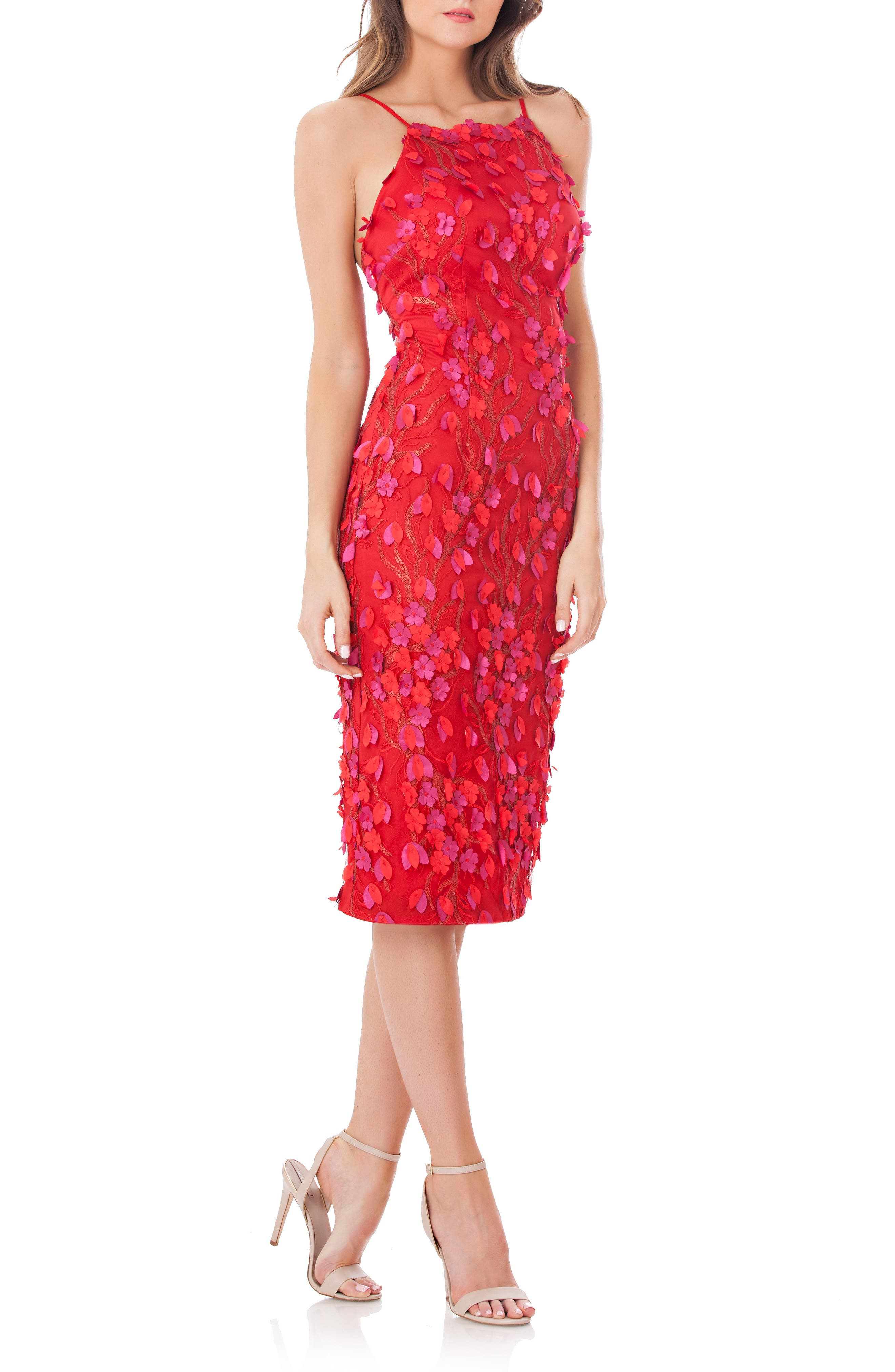 Petals Embellished Halter Neck Sheath Dress,                         Main,                         color, Red