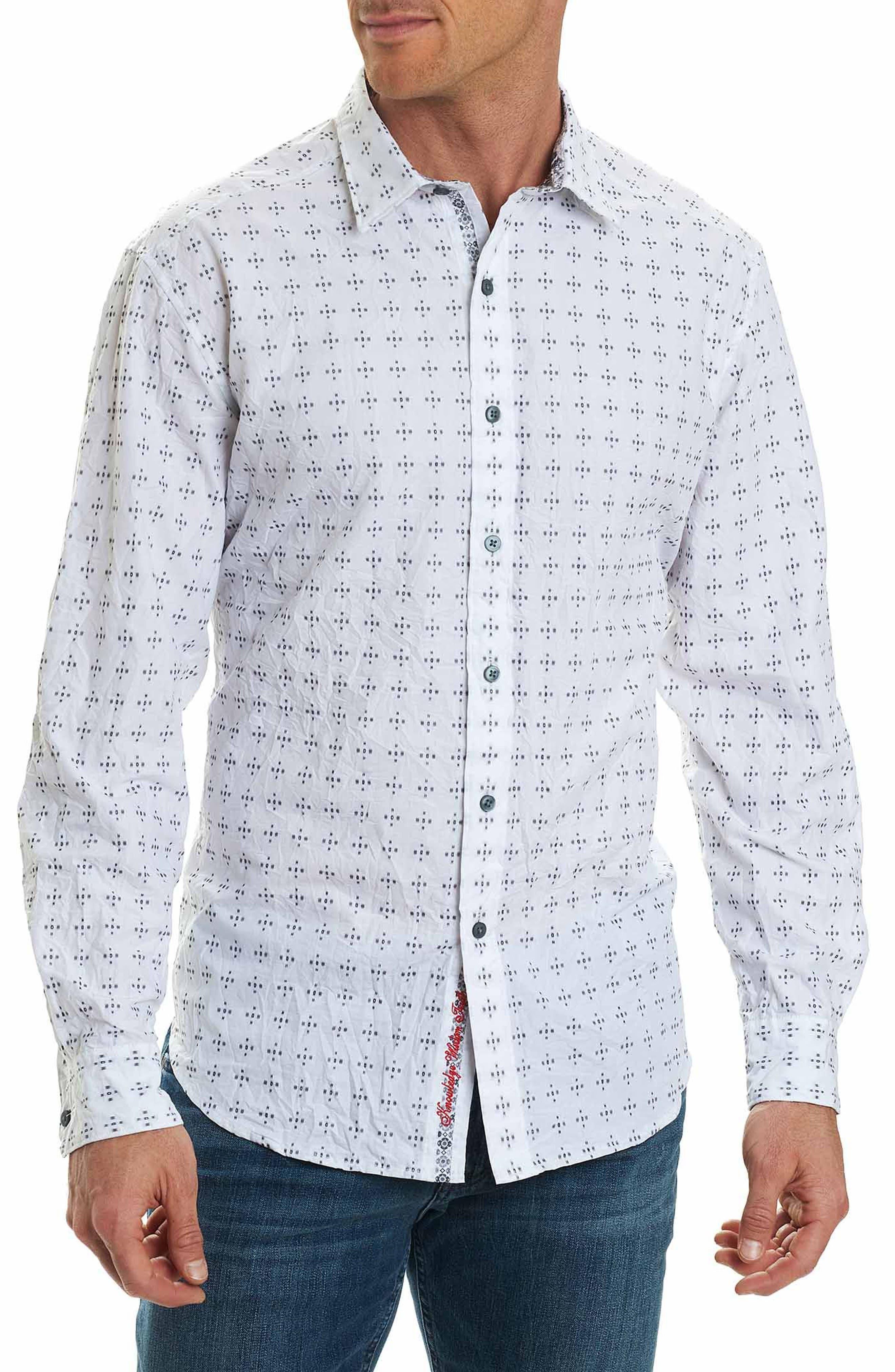 Steger Classic Fit Print Sport Shirt,                         Main,                         color, White