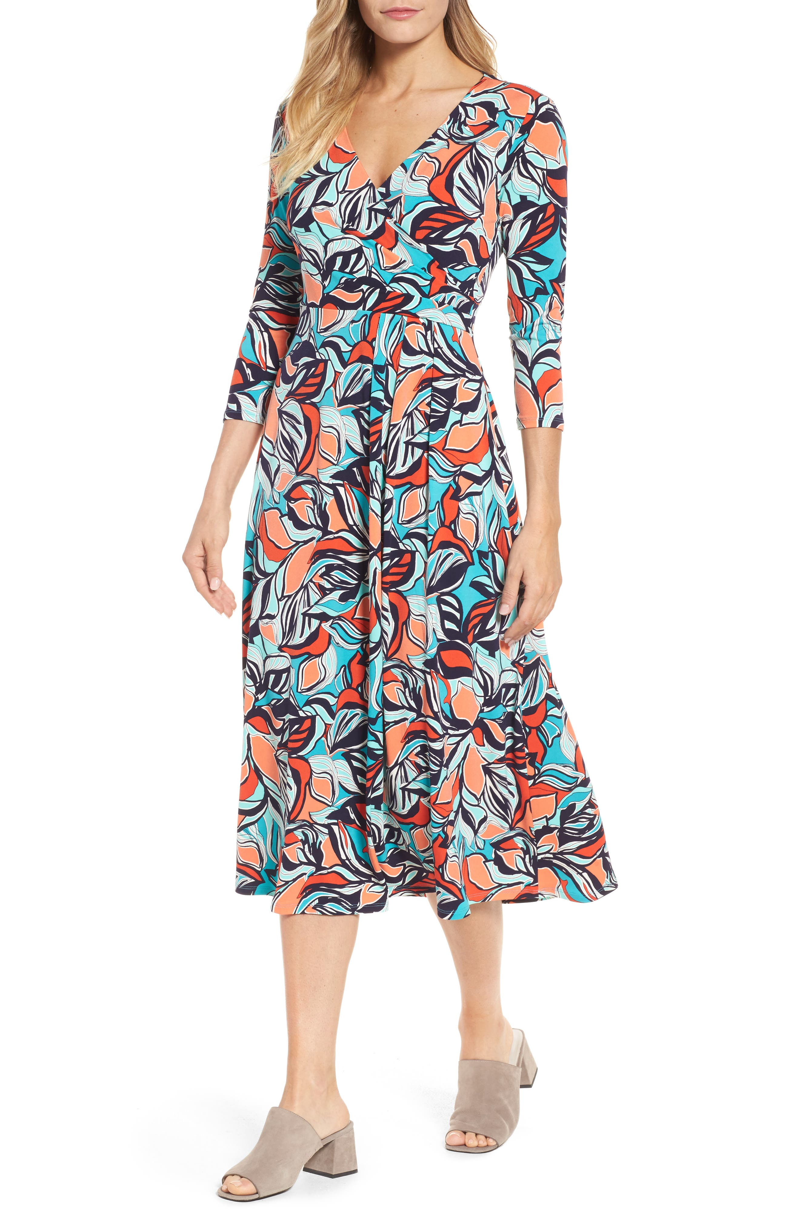 Floral Faux Wrap Midi Dress,                             Main thumbnail 1, color,                             Sea Glass