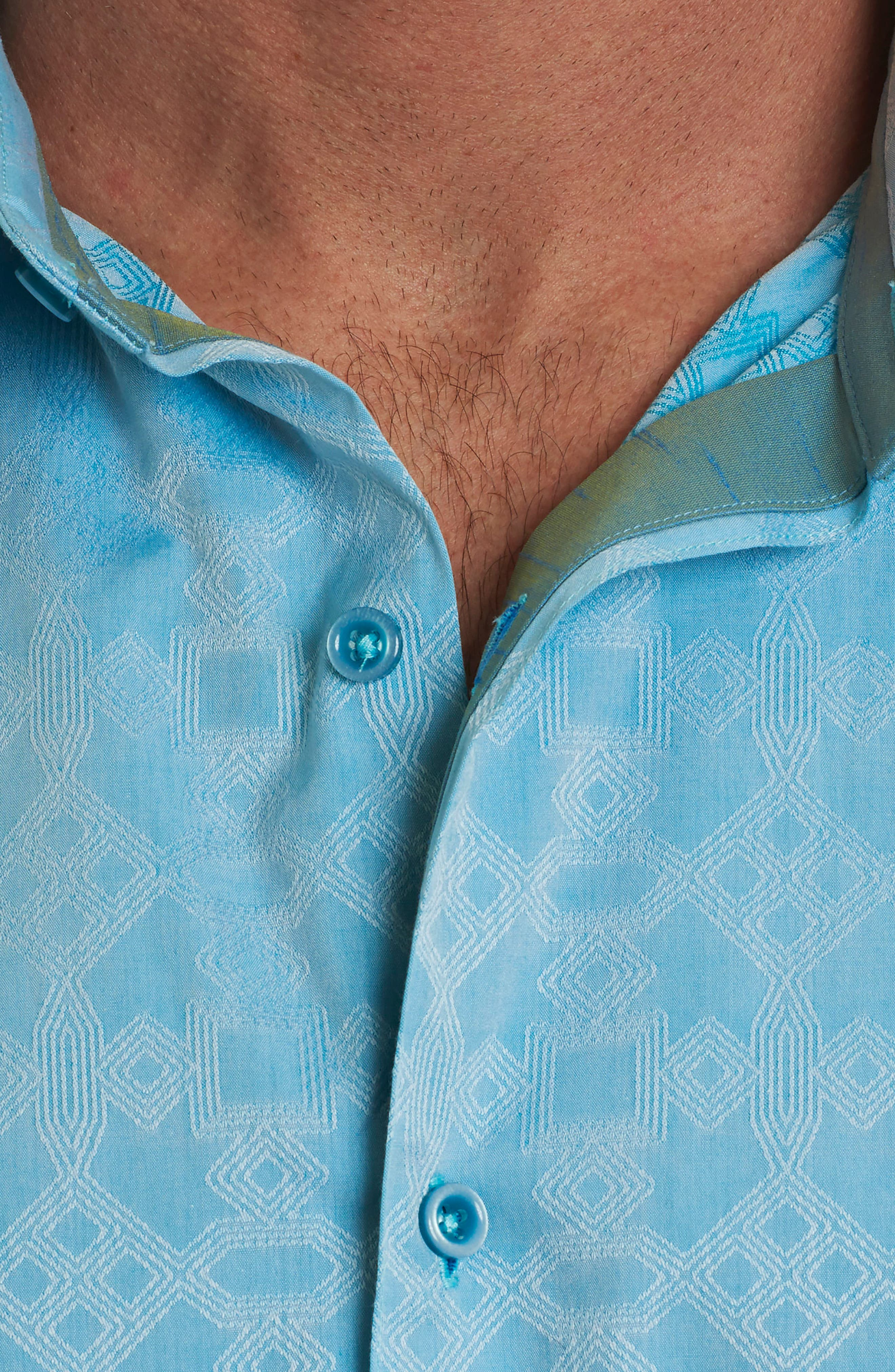 Maya Bay Classic Fit Jacquard Sport Shirt,                             Alternate thumbnail 4, color,                             Turquoise