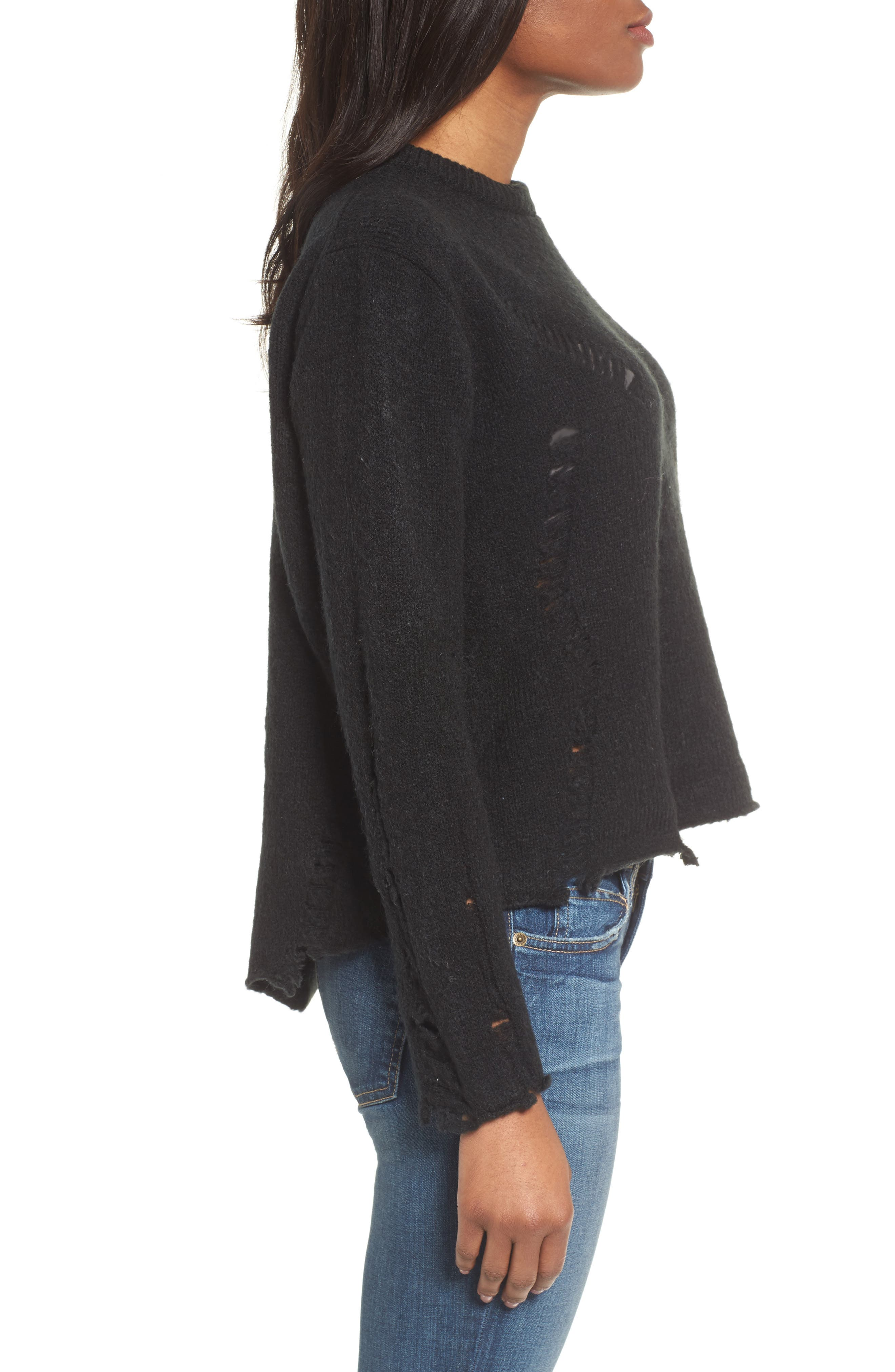 Destroyed High/Low Sweater,                             Alternate thumbnail 3, color,                             Black