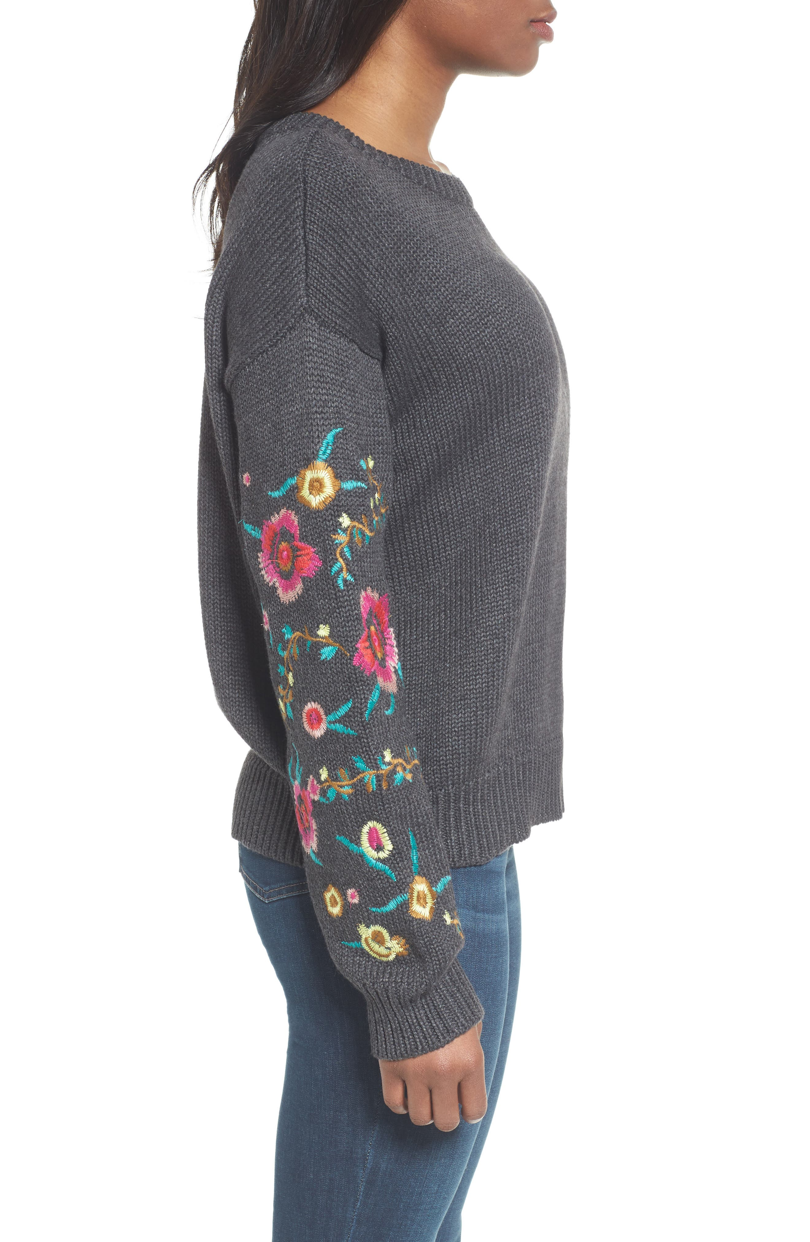 Floral Sleeve Sweater,                             Alternate thumbnail 3, color,                             Grey
