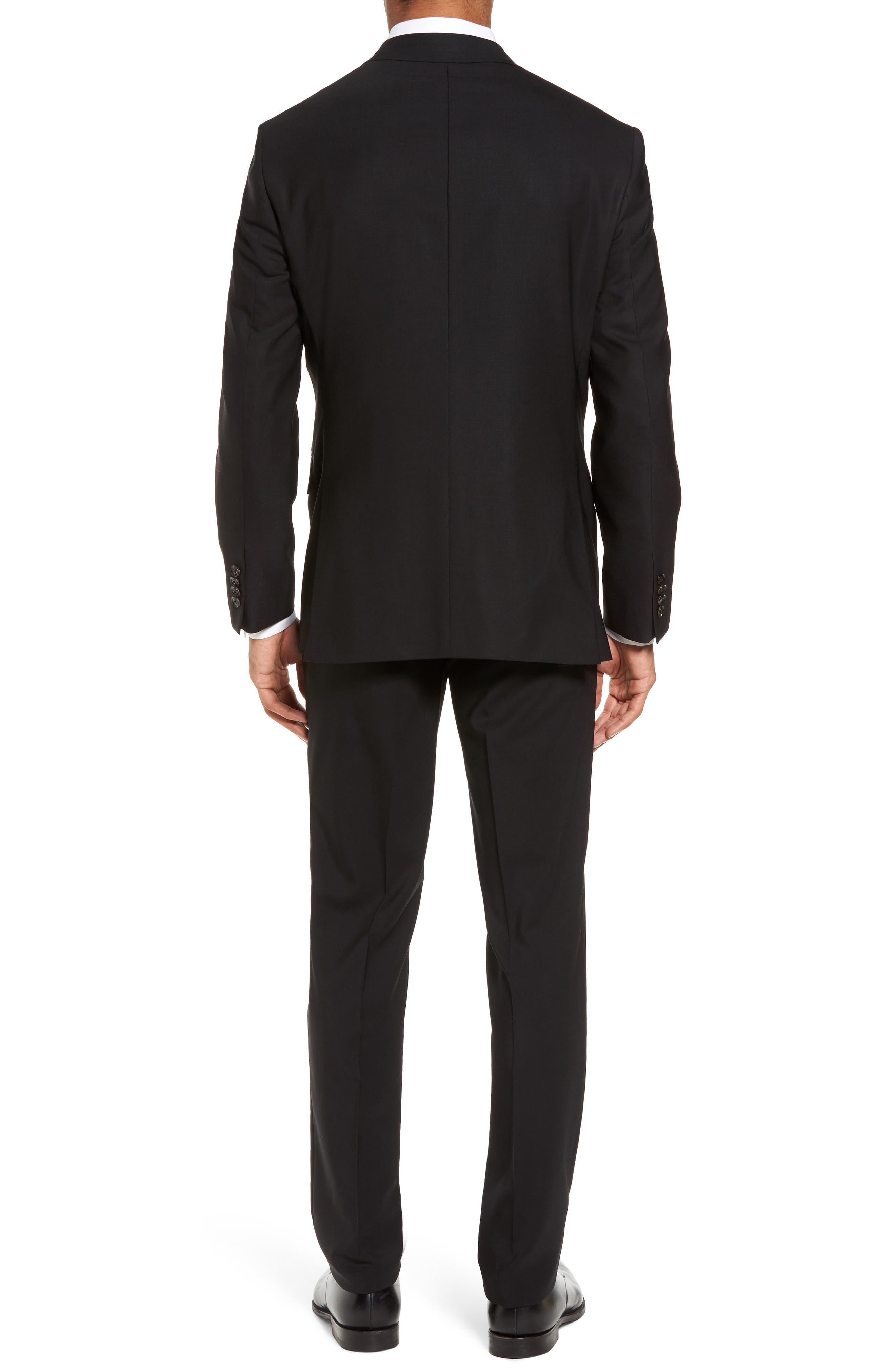 Jay Trim Fit Solid Wool Suit,                             Alternate thumbnail 2, color,                             Black