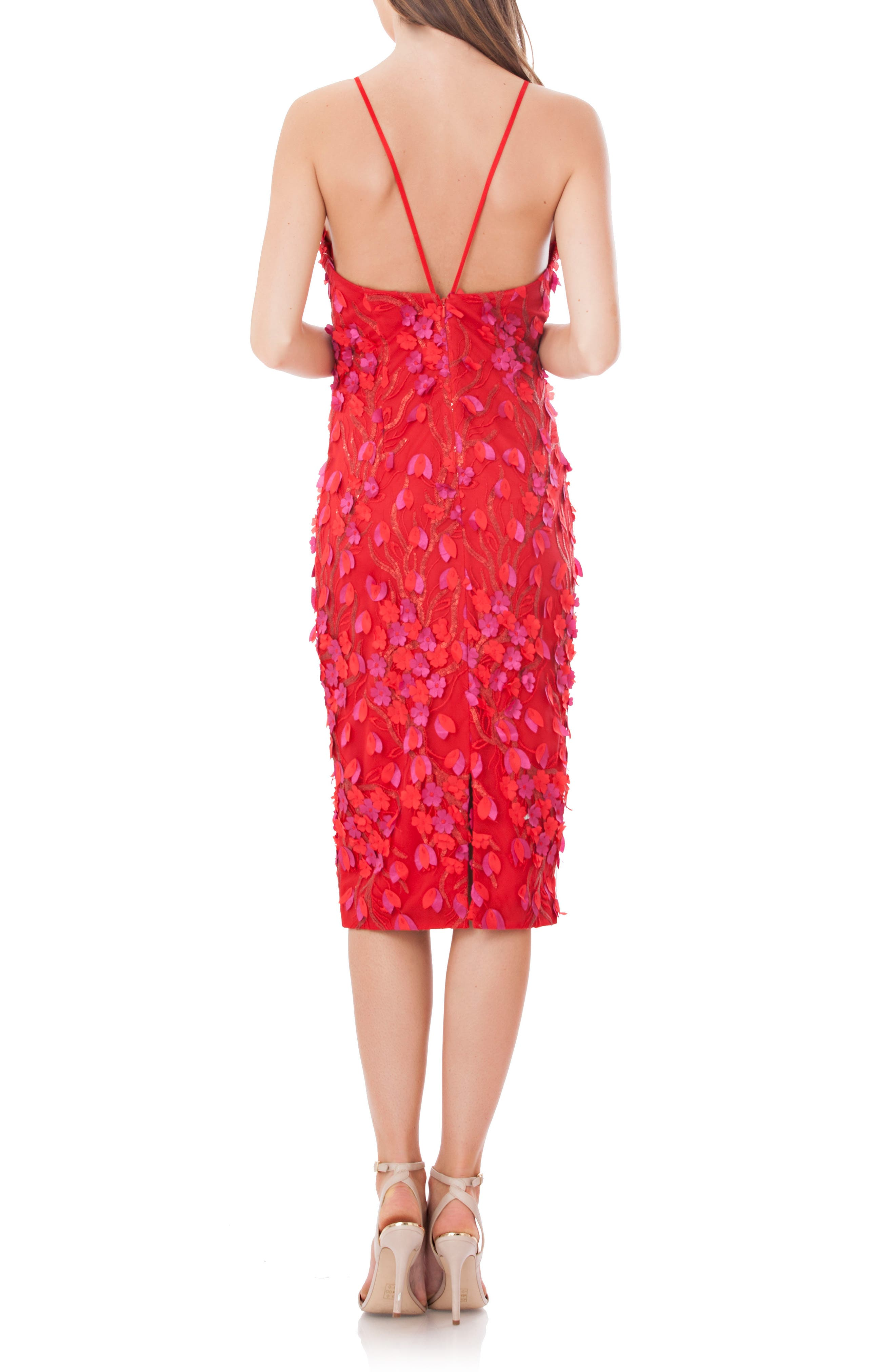 Petals Embellished Halter Neck Sheath Dress,                             Alternate thumbnail 2, color,                             Red