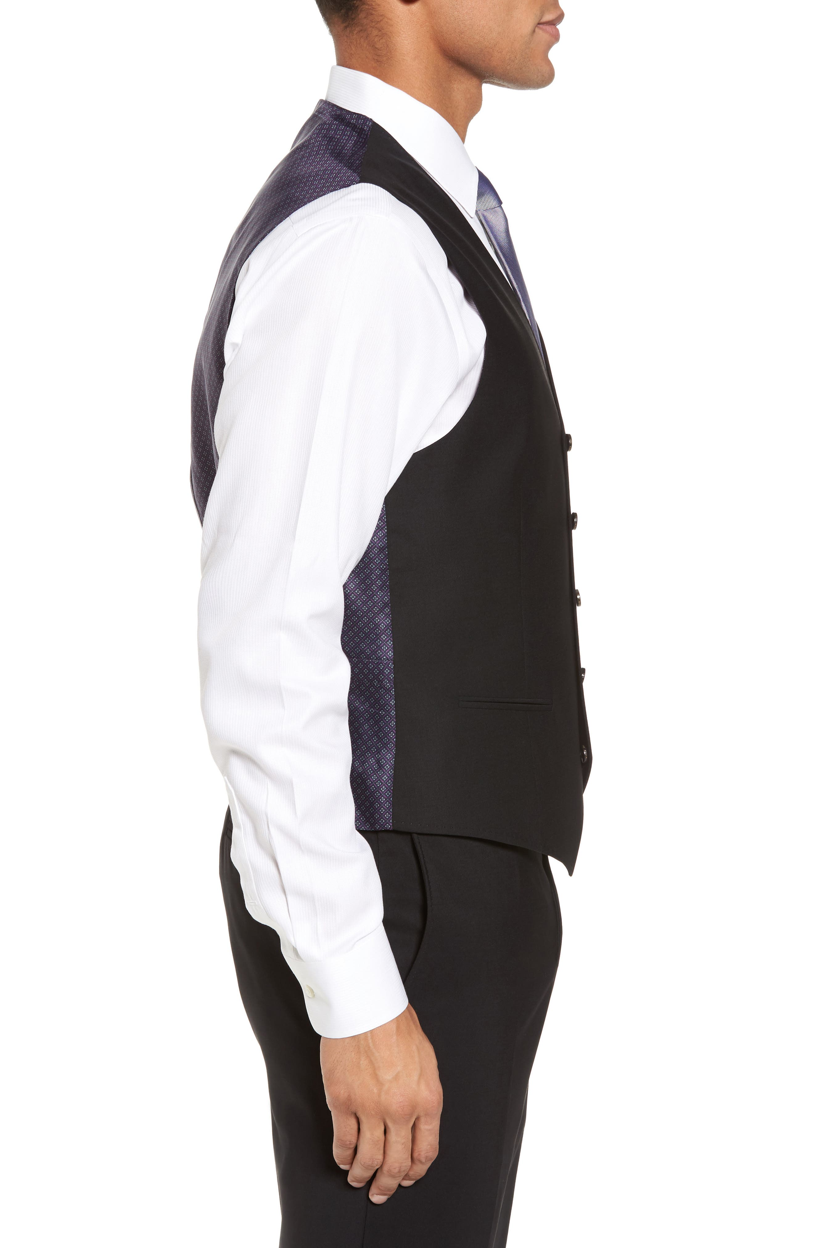Trim Fit Solid Wool Vest,                             Alternate thumbnail 3, color,                             Black