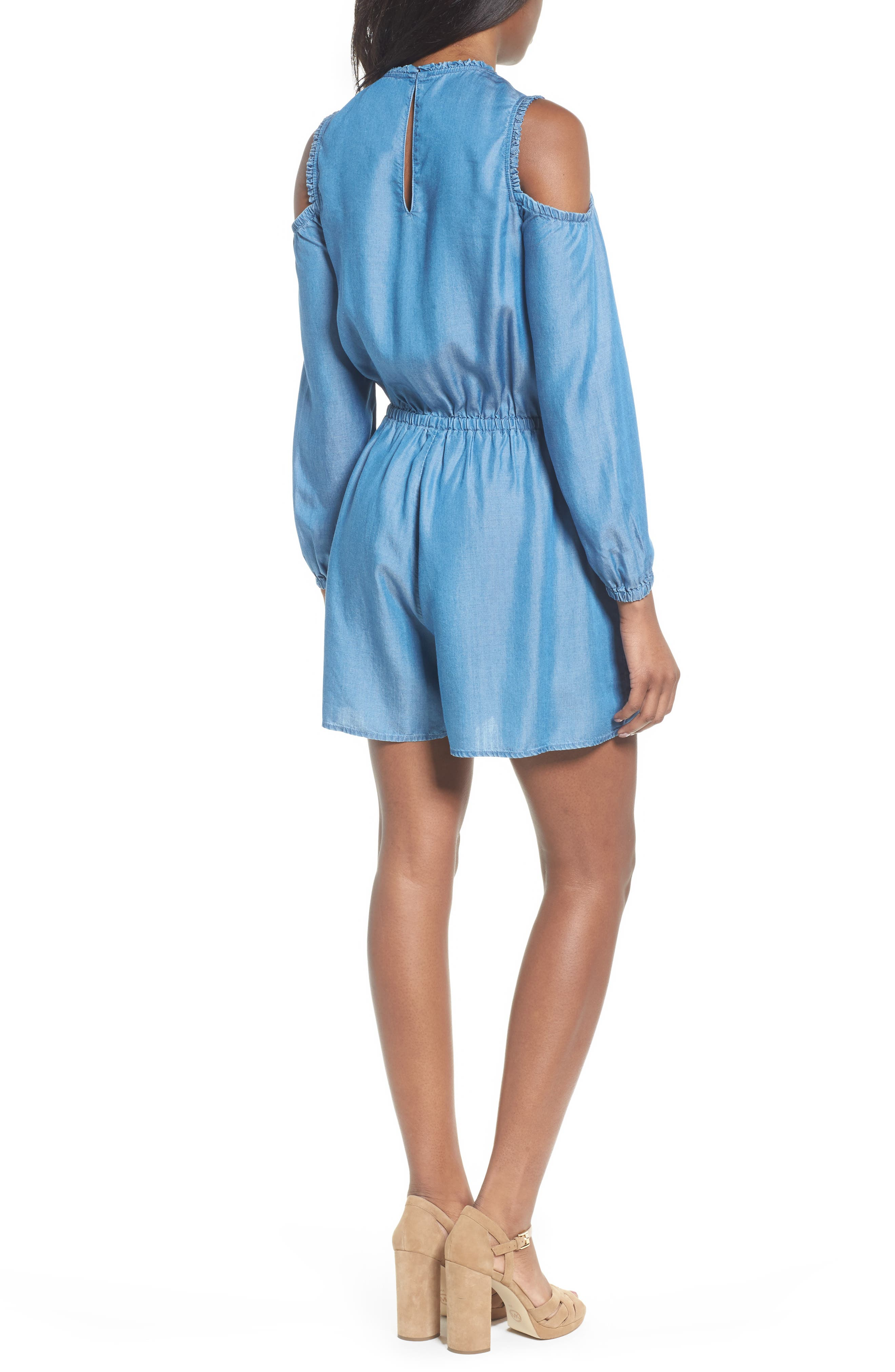 Cold Shoulder Chambray Romper,                             Alternate thumbnail 2, color,                             Light Cadet Wash