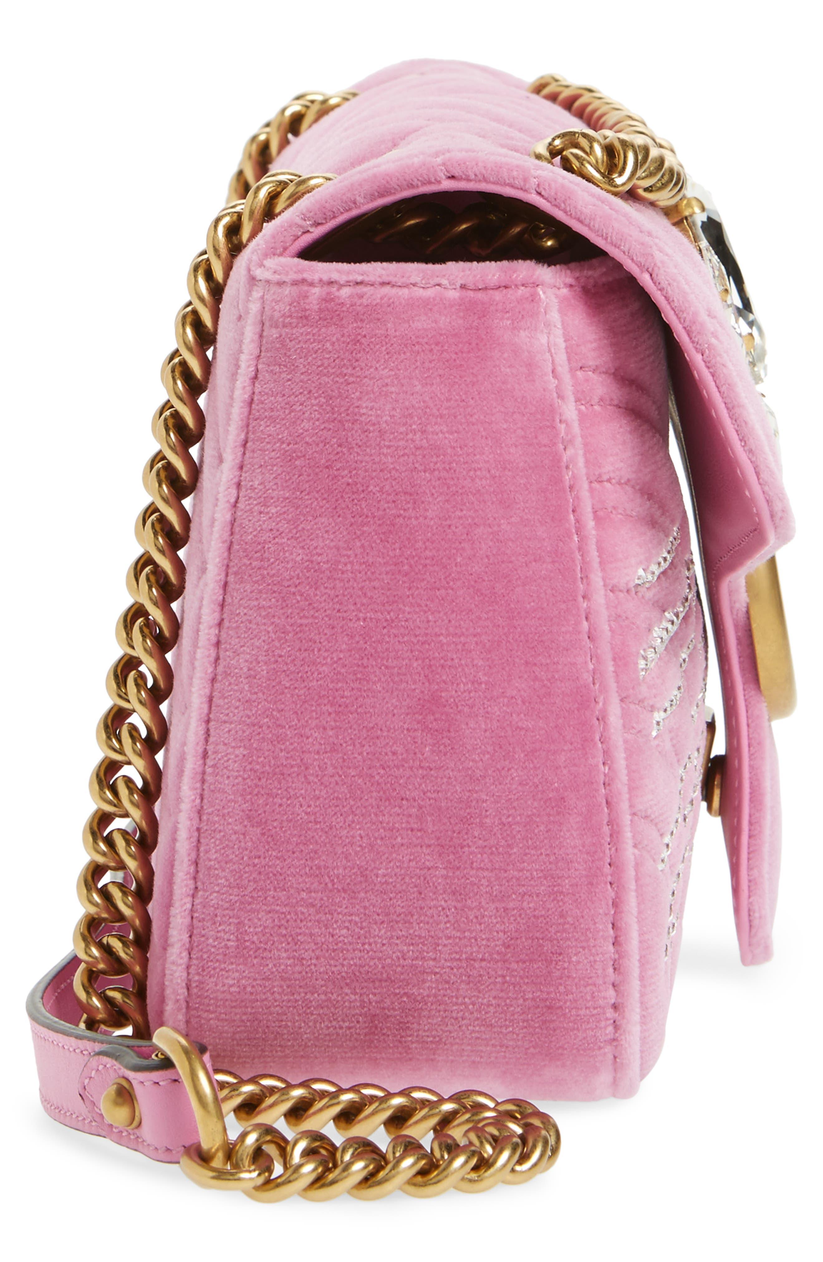 Alternate Image 5  - Gucci GG Marmont 2.0 Crystal Embellished Velvet Crossbody Bag