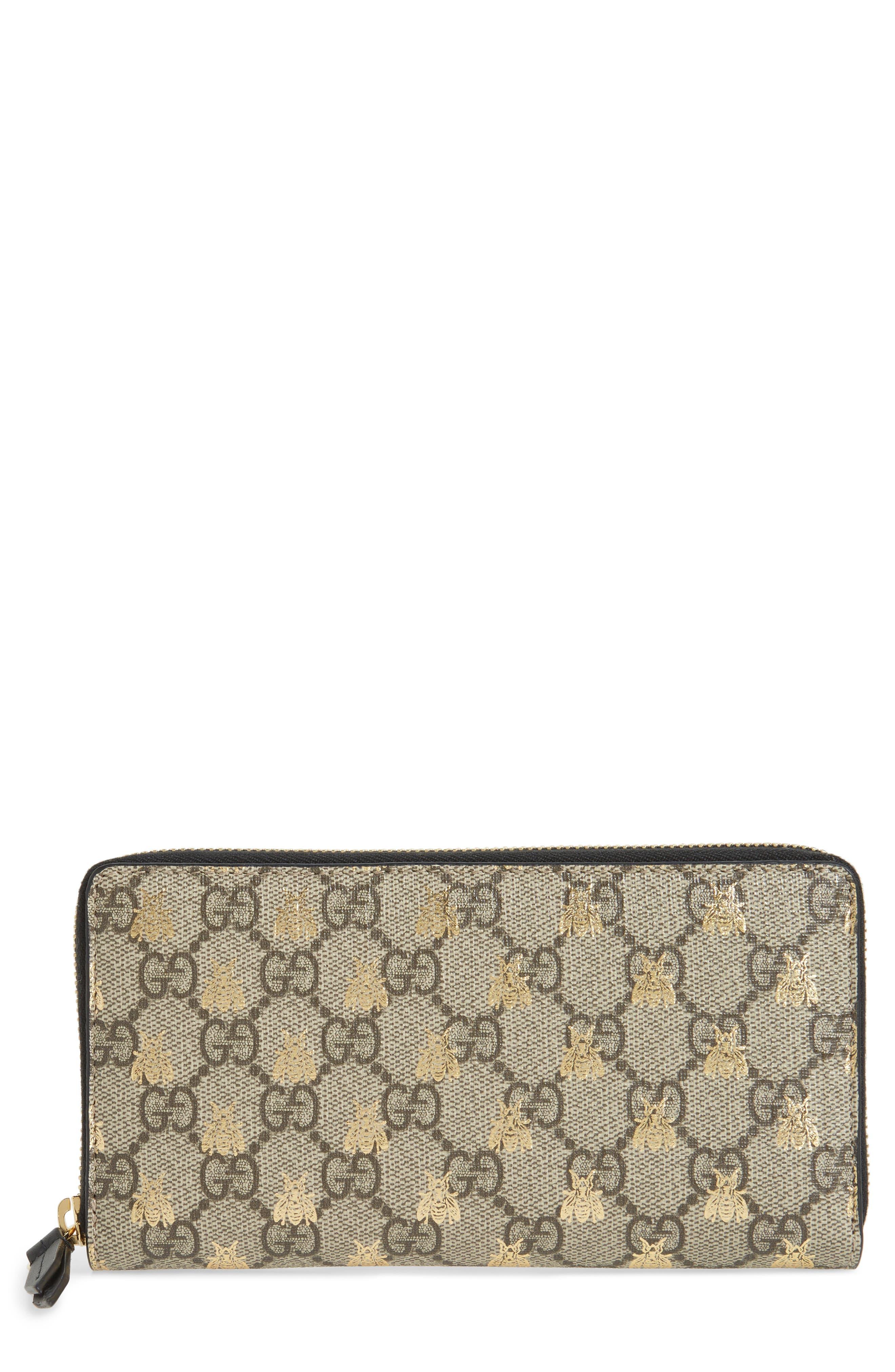 Linea A Bee GG Zip-Around Wallet,                         Main,                         color, Beige Ebony Oro/ Nero
