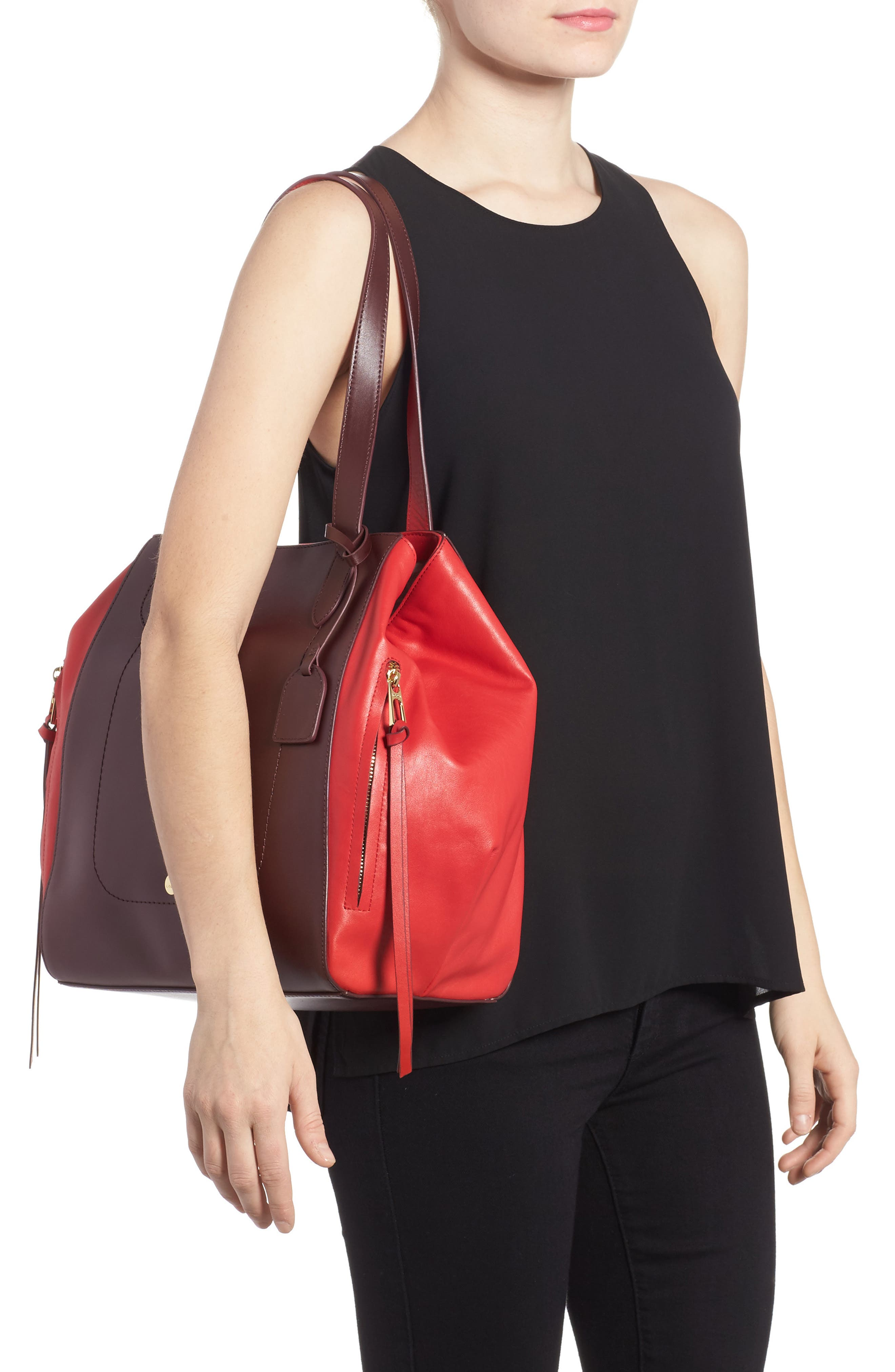 Downtown Charlize RFID Leather Tote,                             Alternate thumbnail 2, color,                             Red/ Chianti