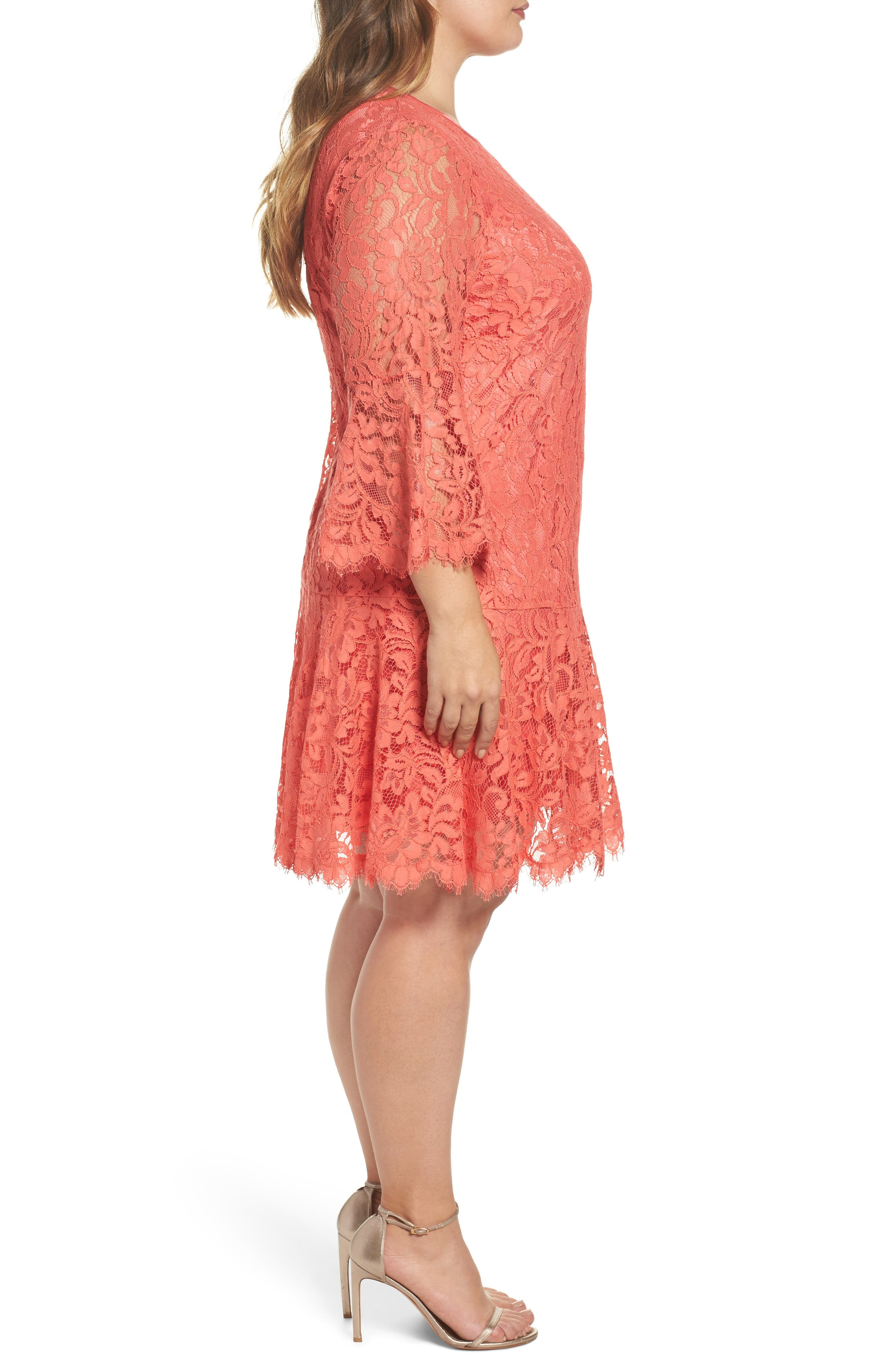 Bell Sleeve Lace Shift Dress,                             Alternate thumbnail 3, color,                             Coral