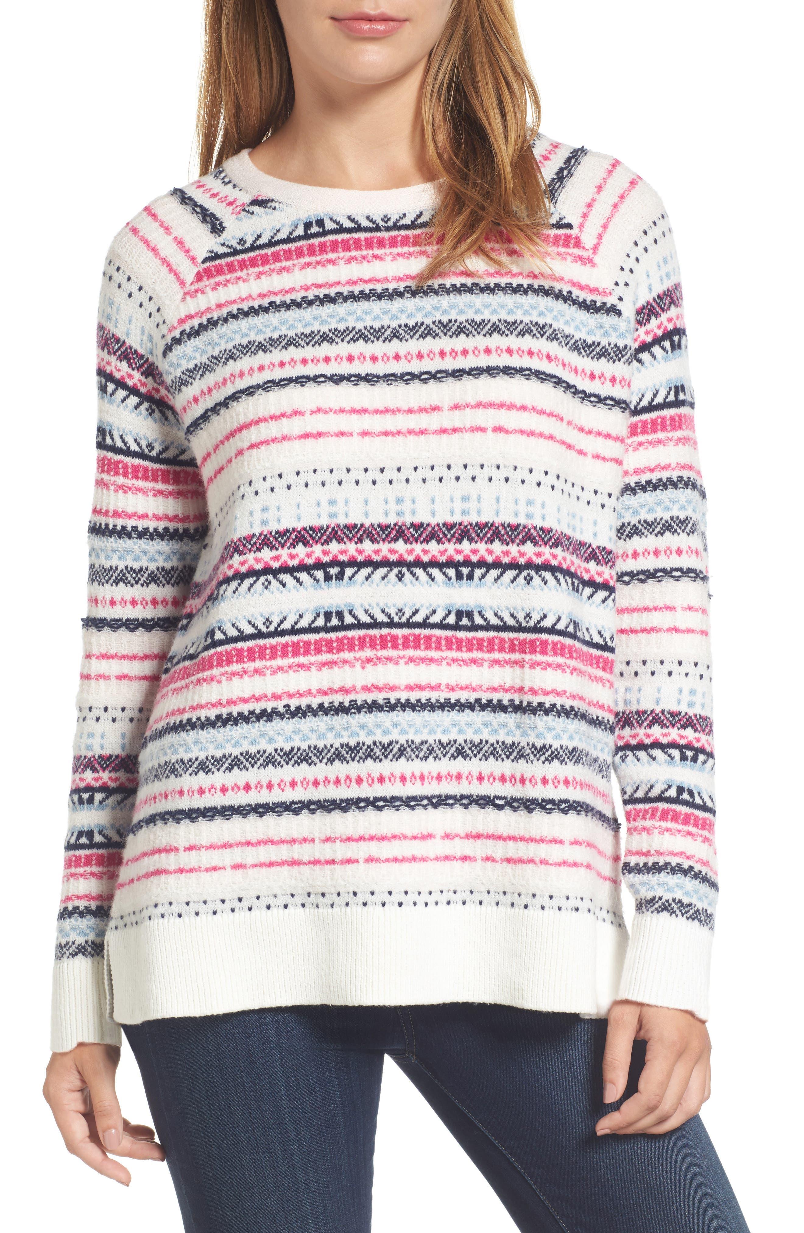 Caslon® Tie Back Patterned Sweater (Regular & Petite)