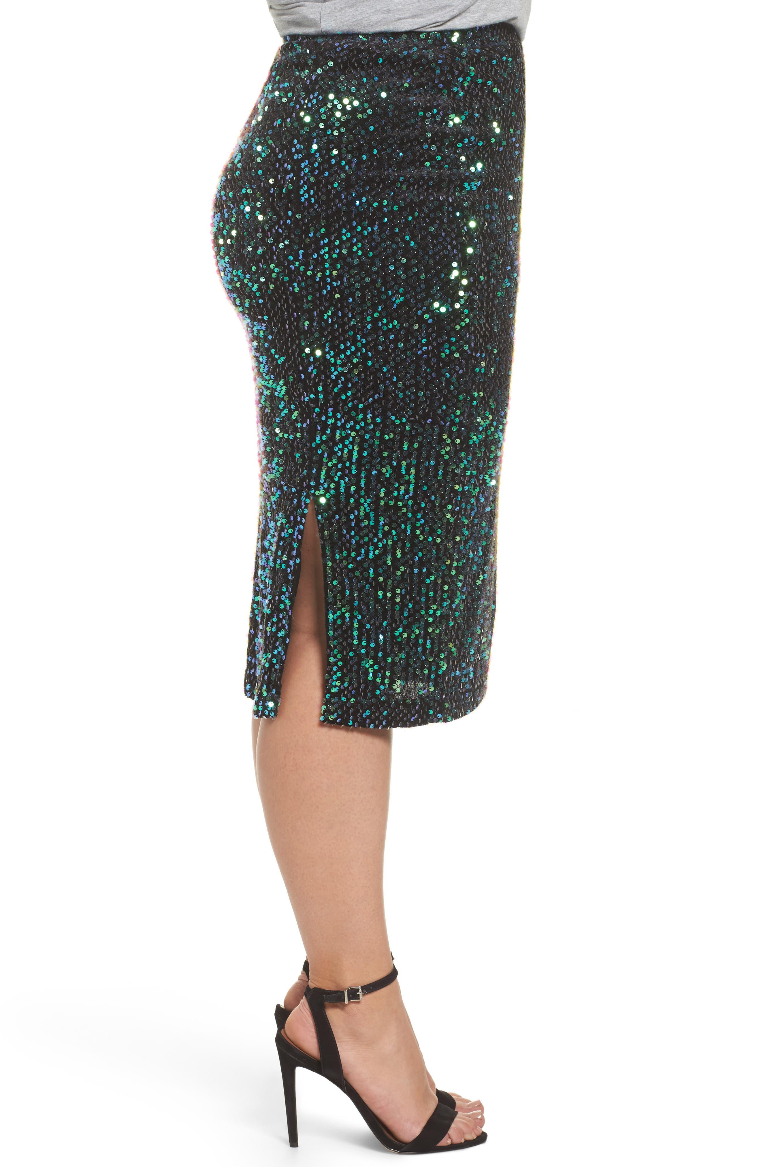 Alternate Image 3  - LOST INK Sequin Pencil Skirt (Plus Size)
