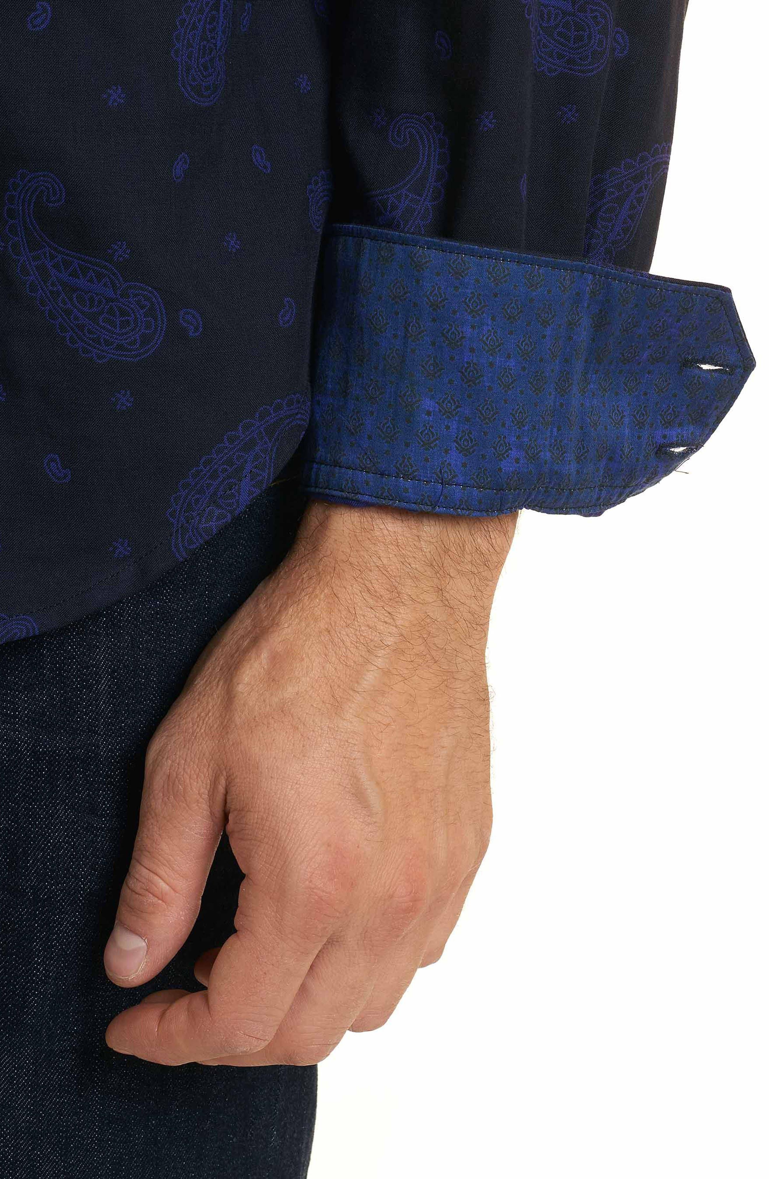 Scatter Paisley Classic Fit Sport Shirt,                             Alternate thumbnail 5, color,                             Black