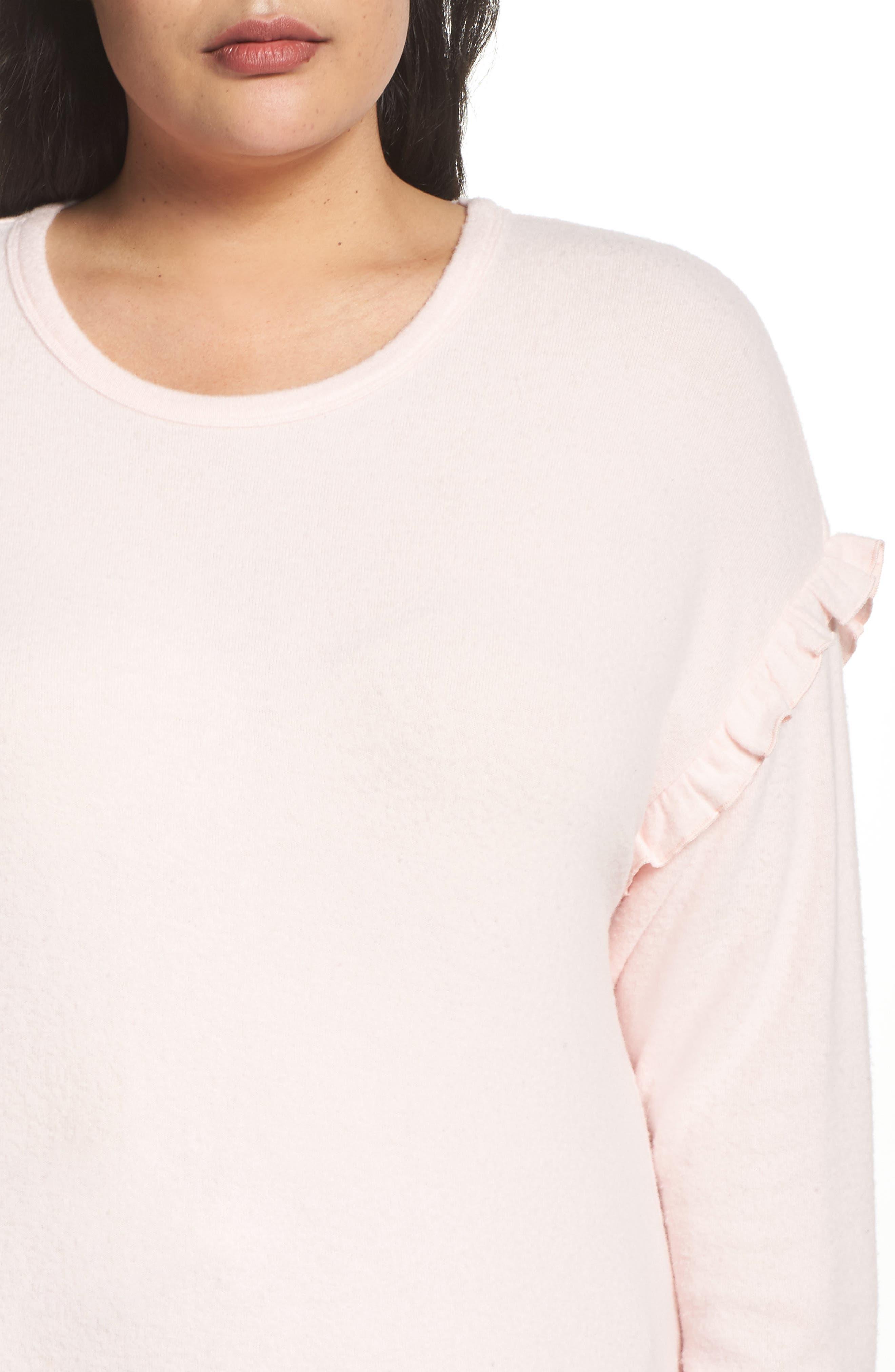Alternate Image 4  - PJ Salvage Ruffled Peachy Jersey Crewneck Top (Plus Size)
